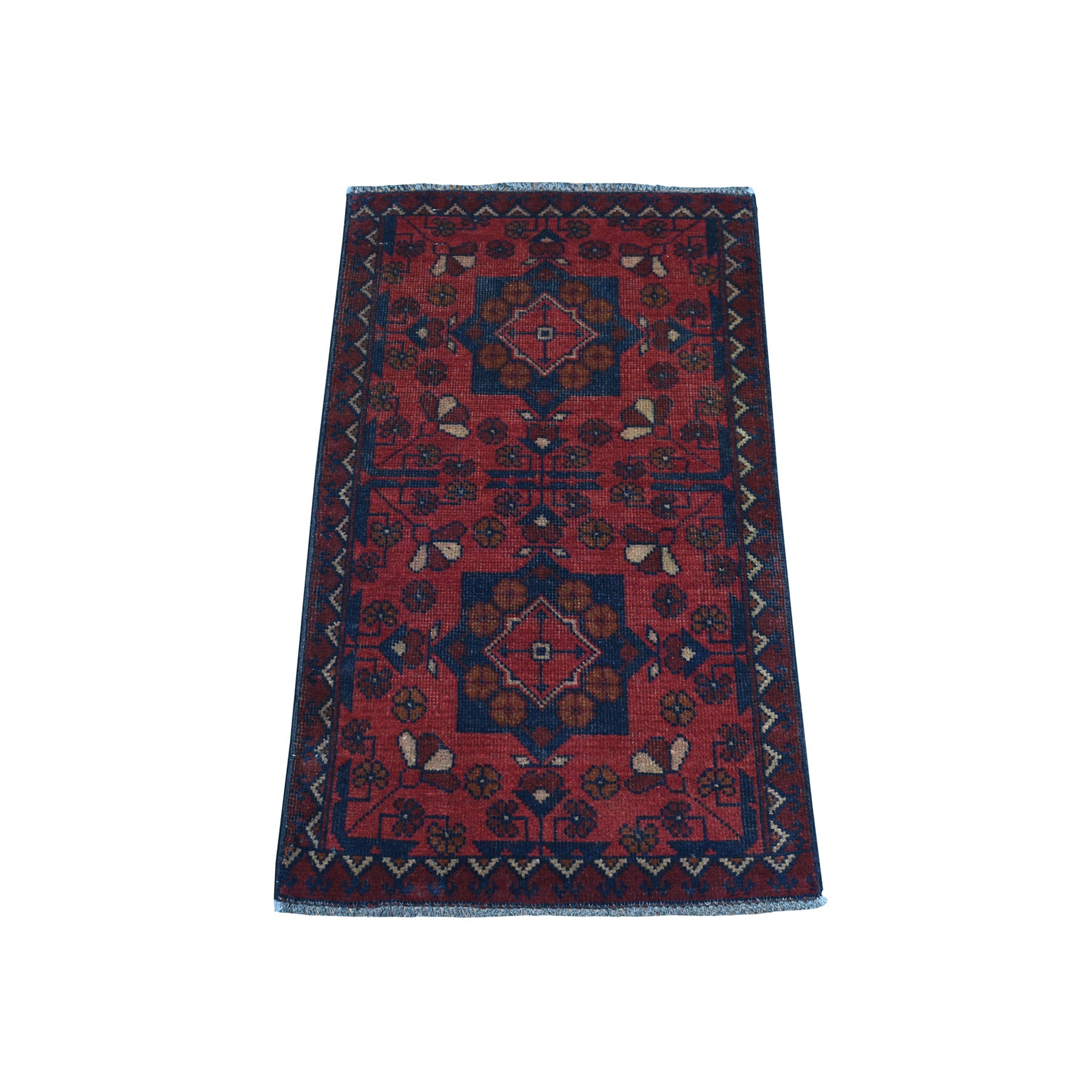 "1'8""X3'4"" Deep And Saturated Red Geometric Afghan Andkhoy Pure Wool Hand Knotted Oriental Rug moaec7c7"