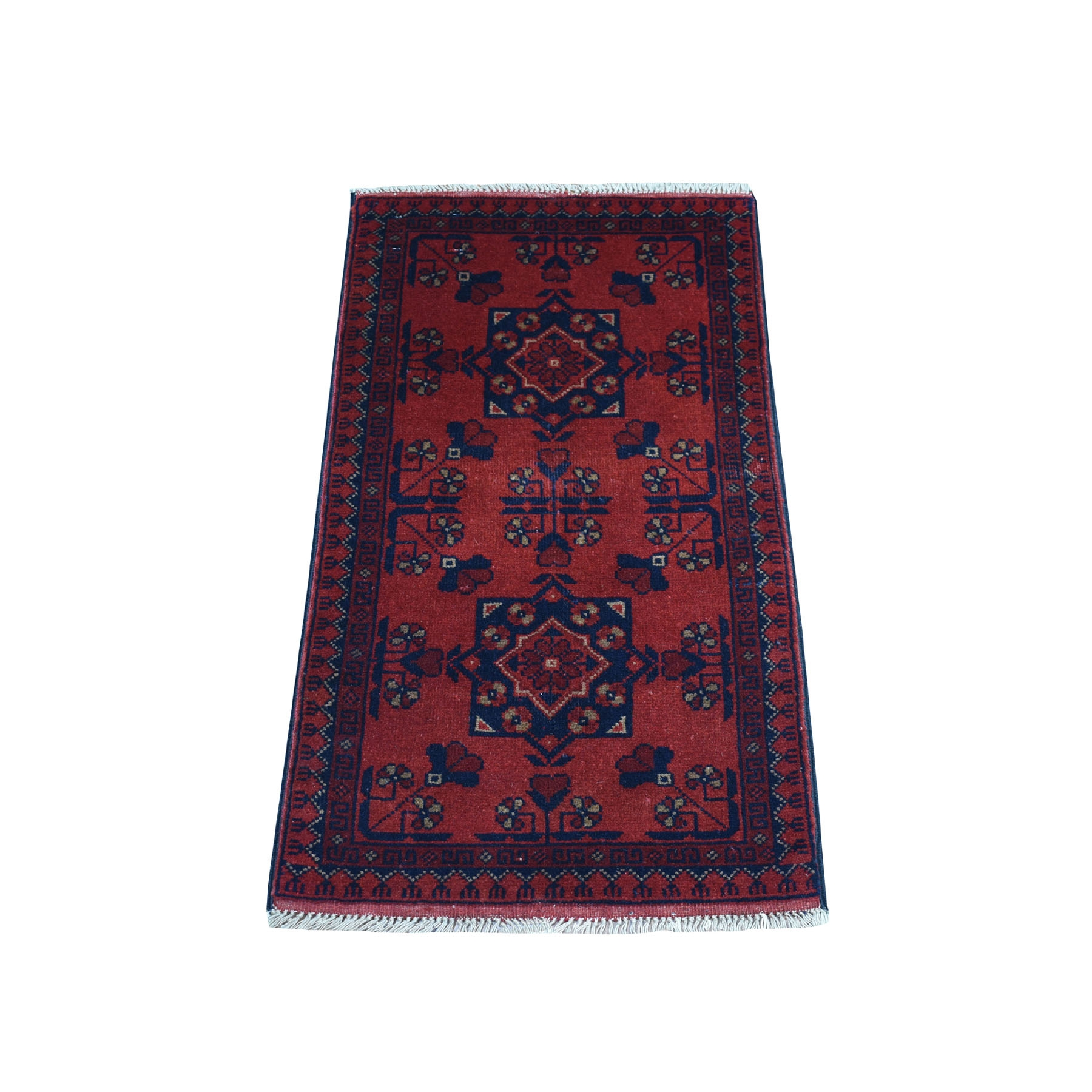 """1'7""""x3'2"""" Deep and Saturated Red Geometric Afghan Andkhoy Pure Wool Hand Knotted Oriental Rug"""