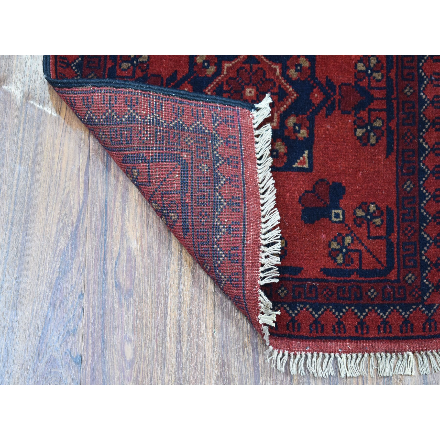 1-7 x3-2  Deep and Saturated Red Geometric Afghan Andkhoy Pure Wool Hand Knotted Oriental Rug