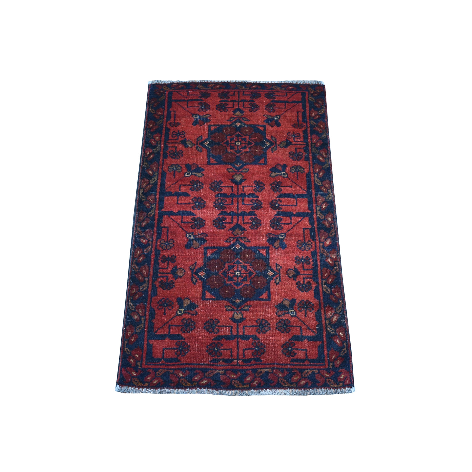 """1'8""""x3'3"""" Deep and Saturated Red Geometric Afghan Andkhoy Pure Wool Hand Knotted Oriental Rug"""