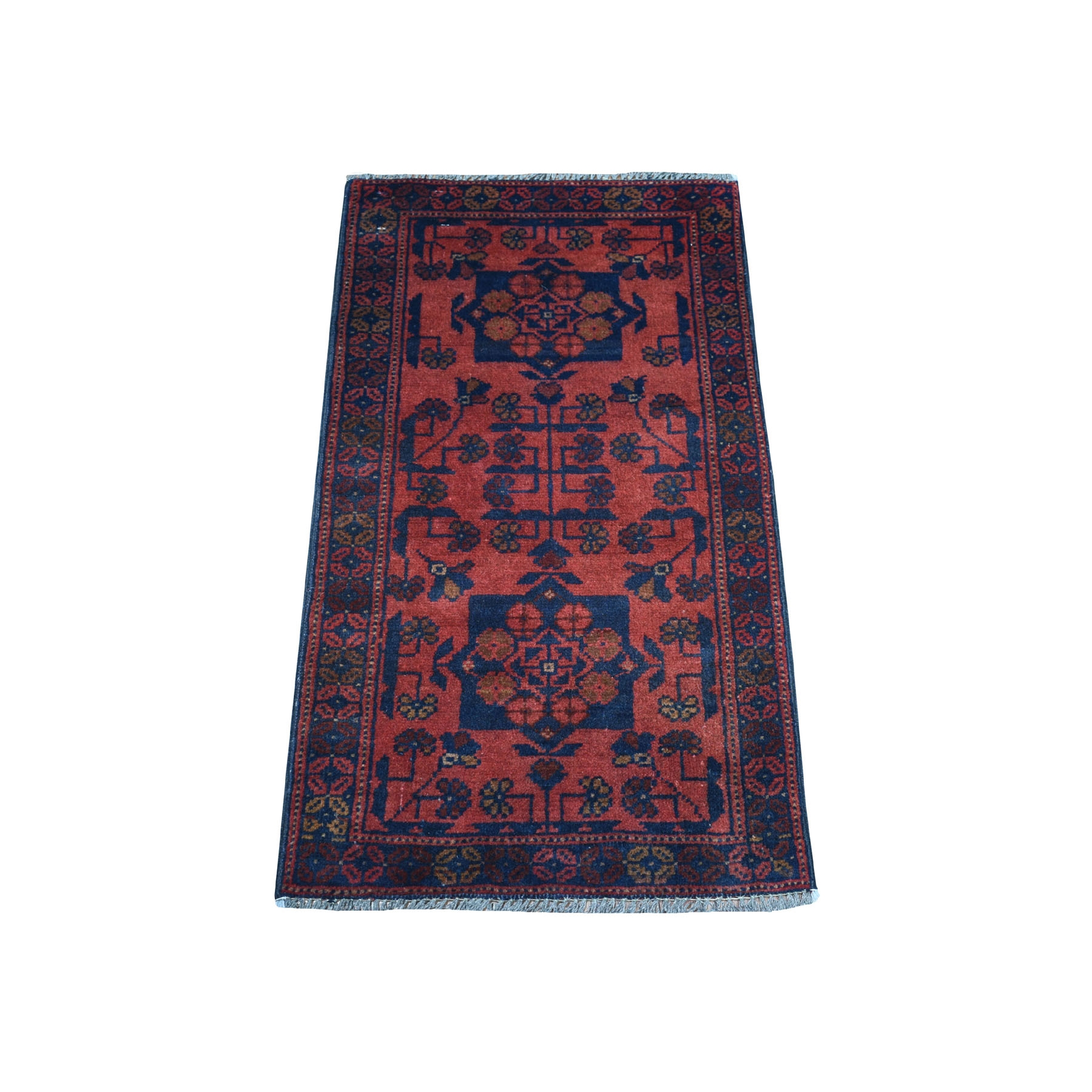 """1'6""""x3'3"""" Deep and Saturated Red Geometric Afghan Andkhoy Pure Wool Hand Knotted Oriental Rug"""