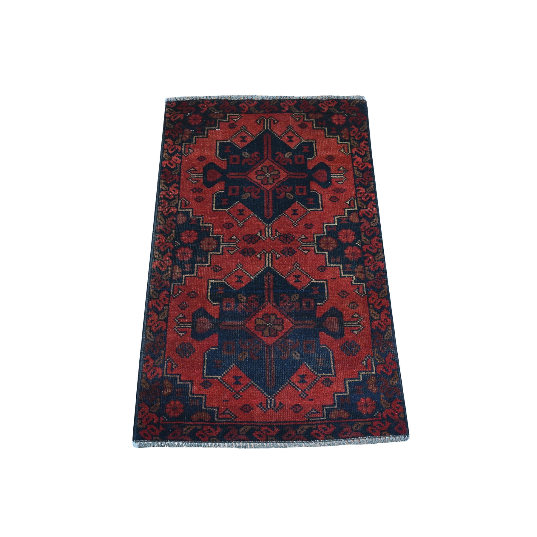 "1'8""X3'2"" Deep And Saturated Red Geometric Afghan Andkhoy Pure Wool Hand Knotted Oriental Rug moaec7db"