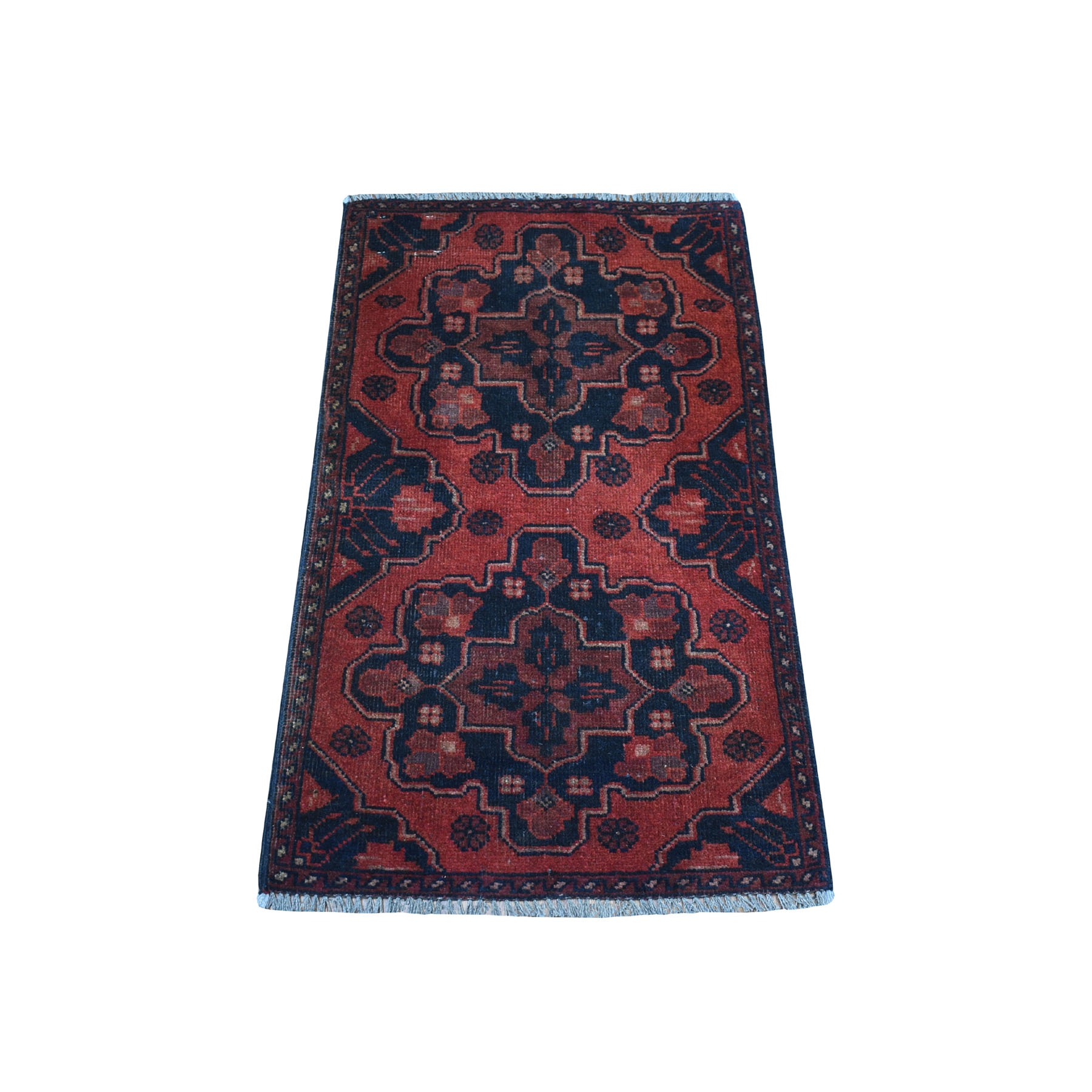 "1'8""X3'2"" Deep And Saturated Red Tribal Afghan Andkhoy Pure Wool Hand Knotted Oriental Rug moaec7dc"