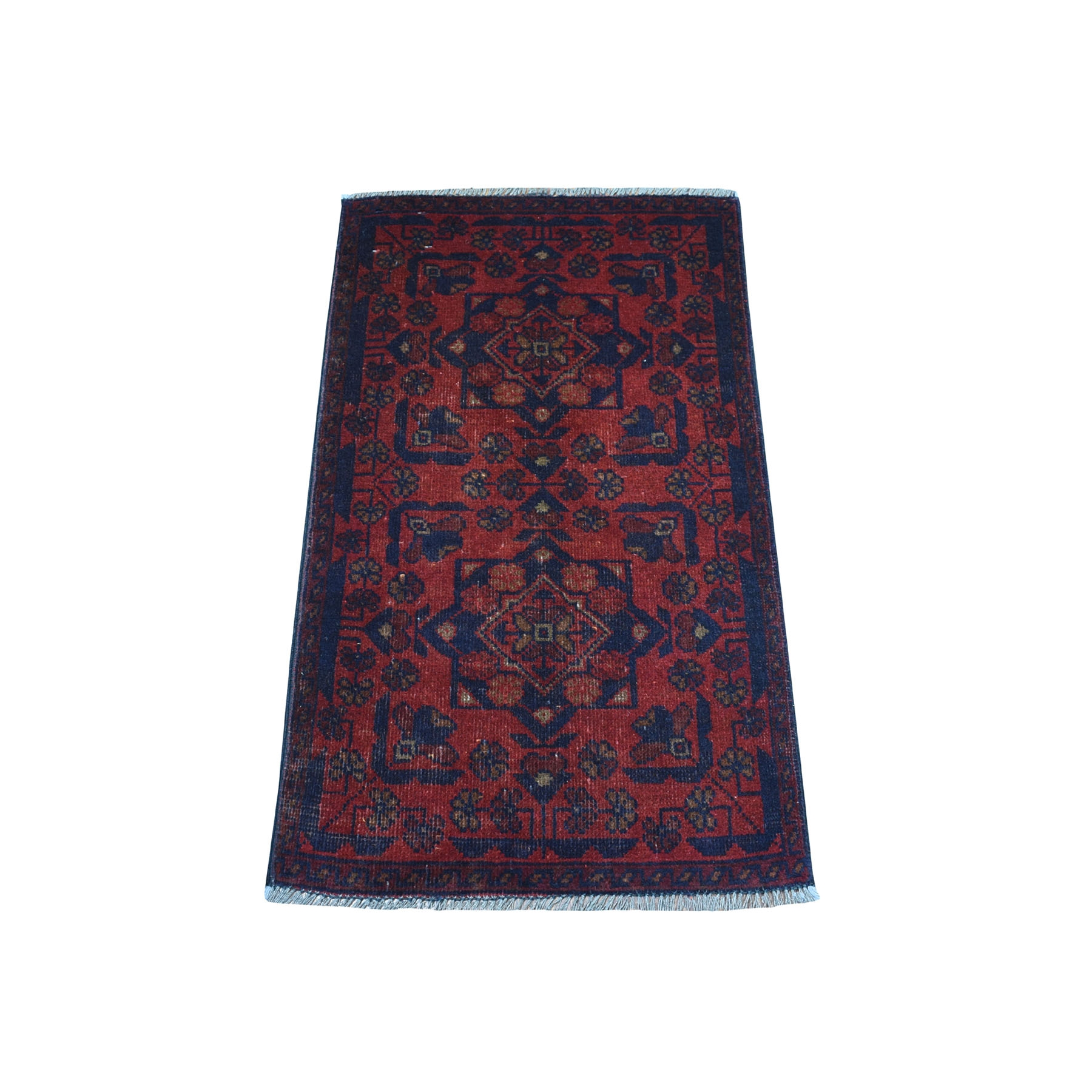 """1'9""""x3'2"""" Deep and Saturated Red Geometric Afghan Andkhoy Pure Wool Hand Knotted Oriental Rug 53744"""
