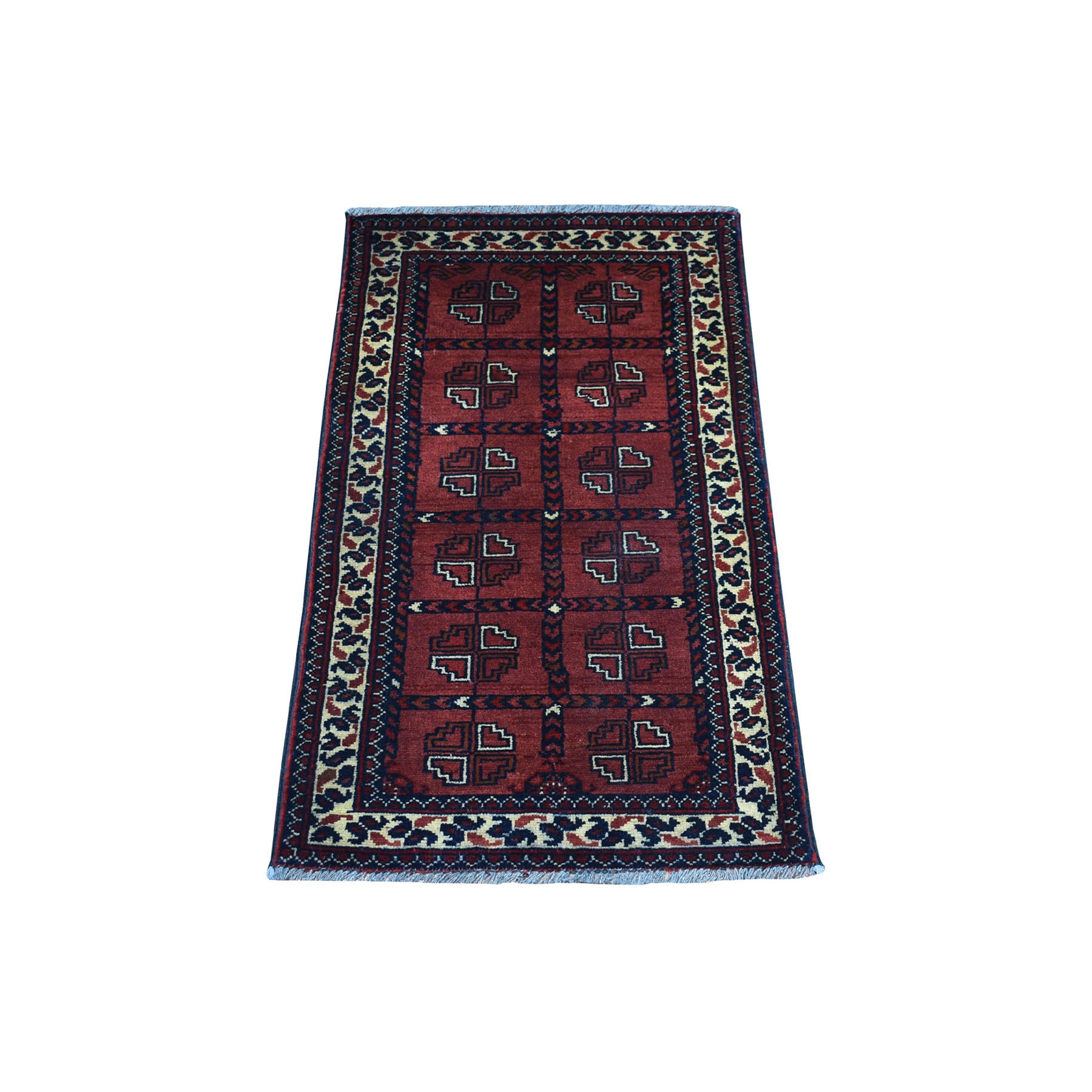 "1'6""X3'2"" Deep And Saturated Red Geometric Afghan Andkhoy Pure Wool Hand Knotted Oriental Rug moaec7de"