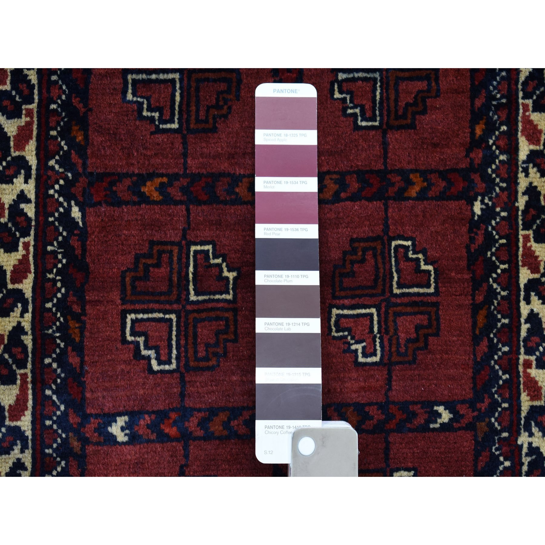 1-6 x3-2  Deep and Saturated Red Geometric Afghan Andkhoy Pure Wool Hand Knotted Oriental Rug