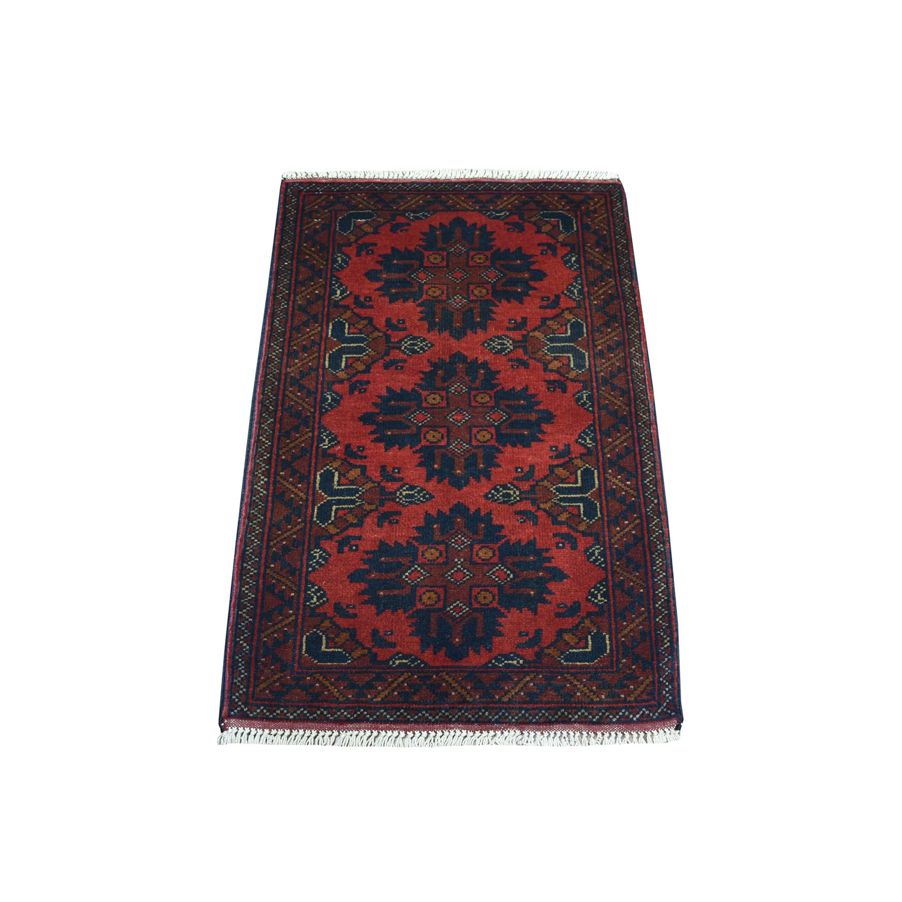 """1'9""""X3'2"""" Deep And Saturated Red Tribal Afghan Andkhoy Pure Wool Hand Knotted Oriental Rug moaec7d7"""