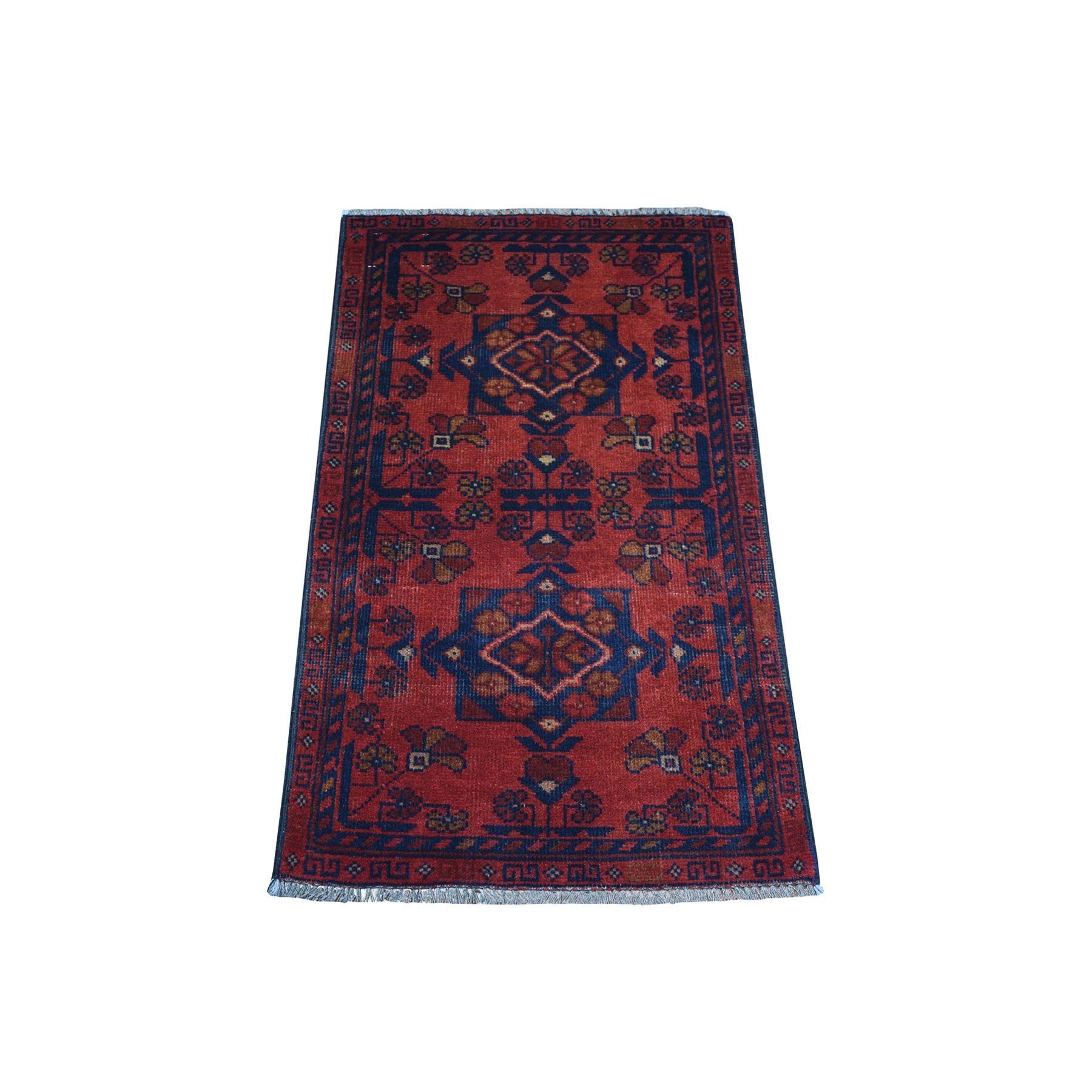 1-8 x3-4  Deep and Saturated Red Geometric Afghan Andkhoy Pure Wool Hand Knotted Oriental Rug