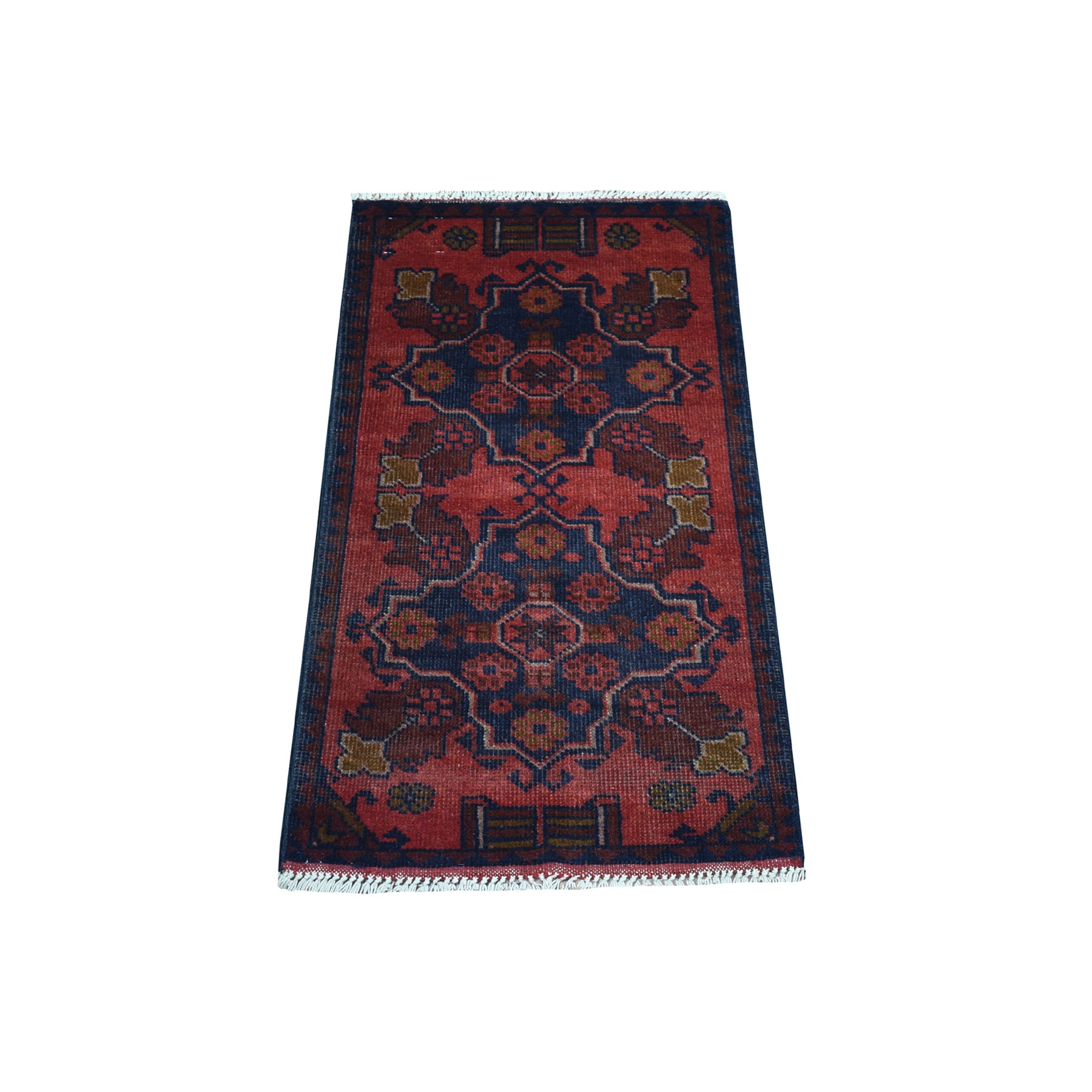 """1'7""""X3'2"""" Deep And Saturated Red Tribal Afghan Andkhoy Pure Wool Hand Knotted Oriental Rug moaec7ea"""