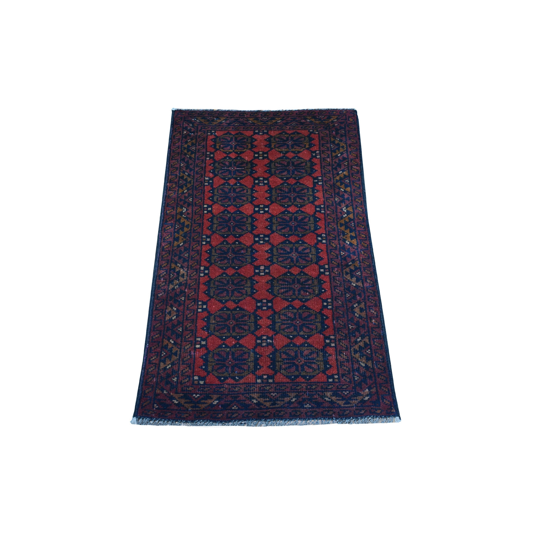 """1'8""""X3'2"""" Deep And Saturated Red Geometric Afghan Andkhoy Pure Wool Hand Knotted Oriental Rug moaec7ee"""