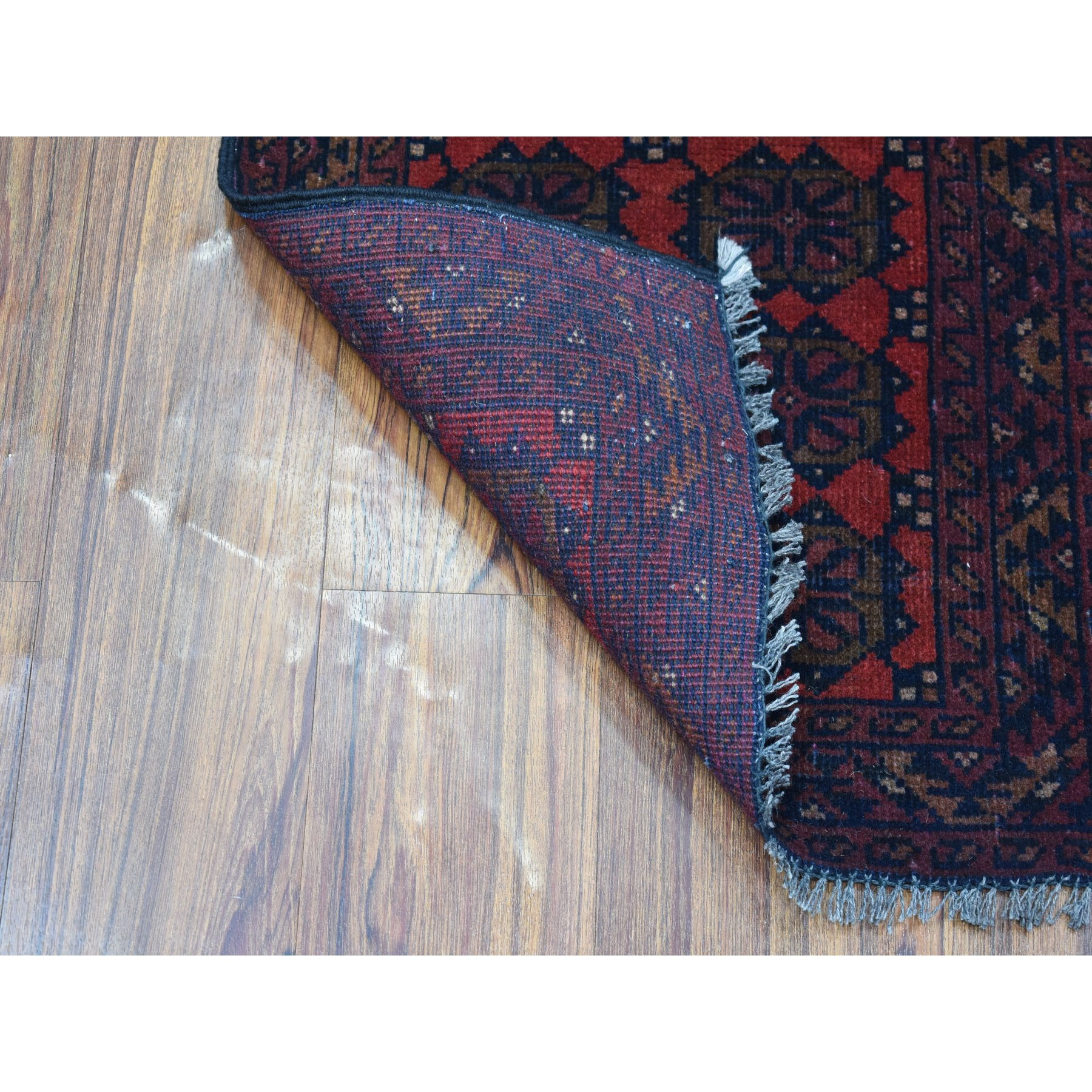 1-8 x3-2  Deep and Saturated Red Geometric Afghan Andkhoy Pure Wool Hand Knotted Oriental Rug