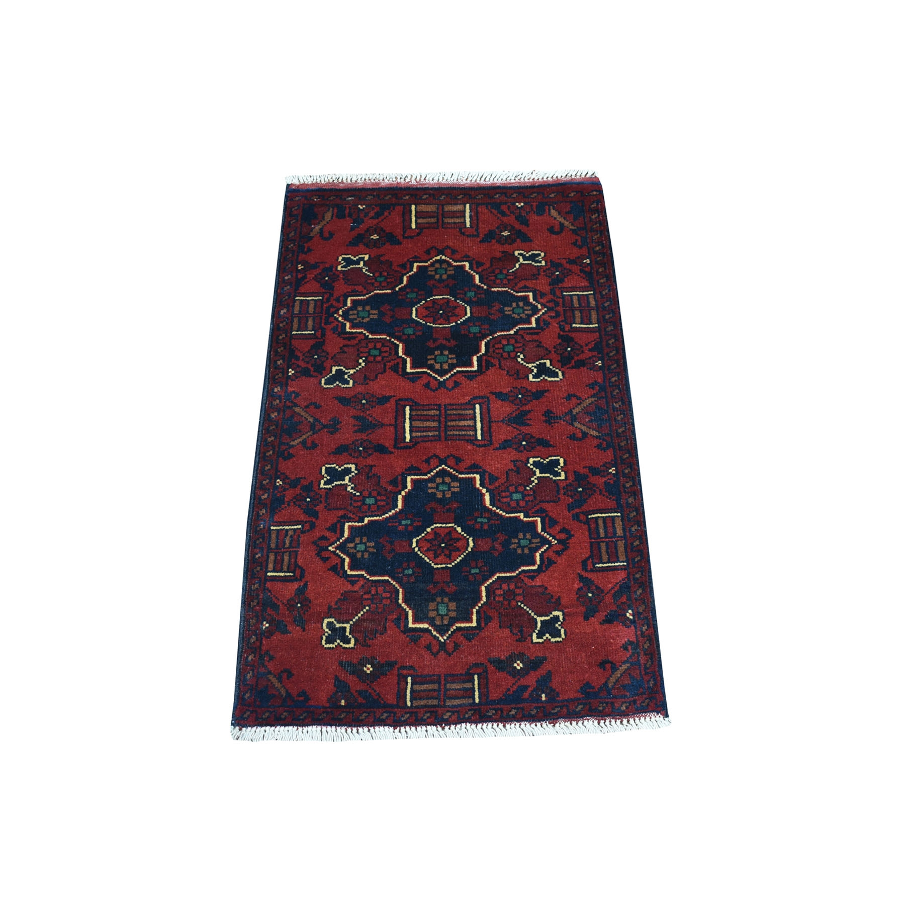 """1'9""""X3'2"""" Deep And Saturated Red Geometric Afghan Andkhoy Pure Wool Hand Knotted Oriental Rug moaec7e6"""