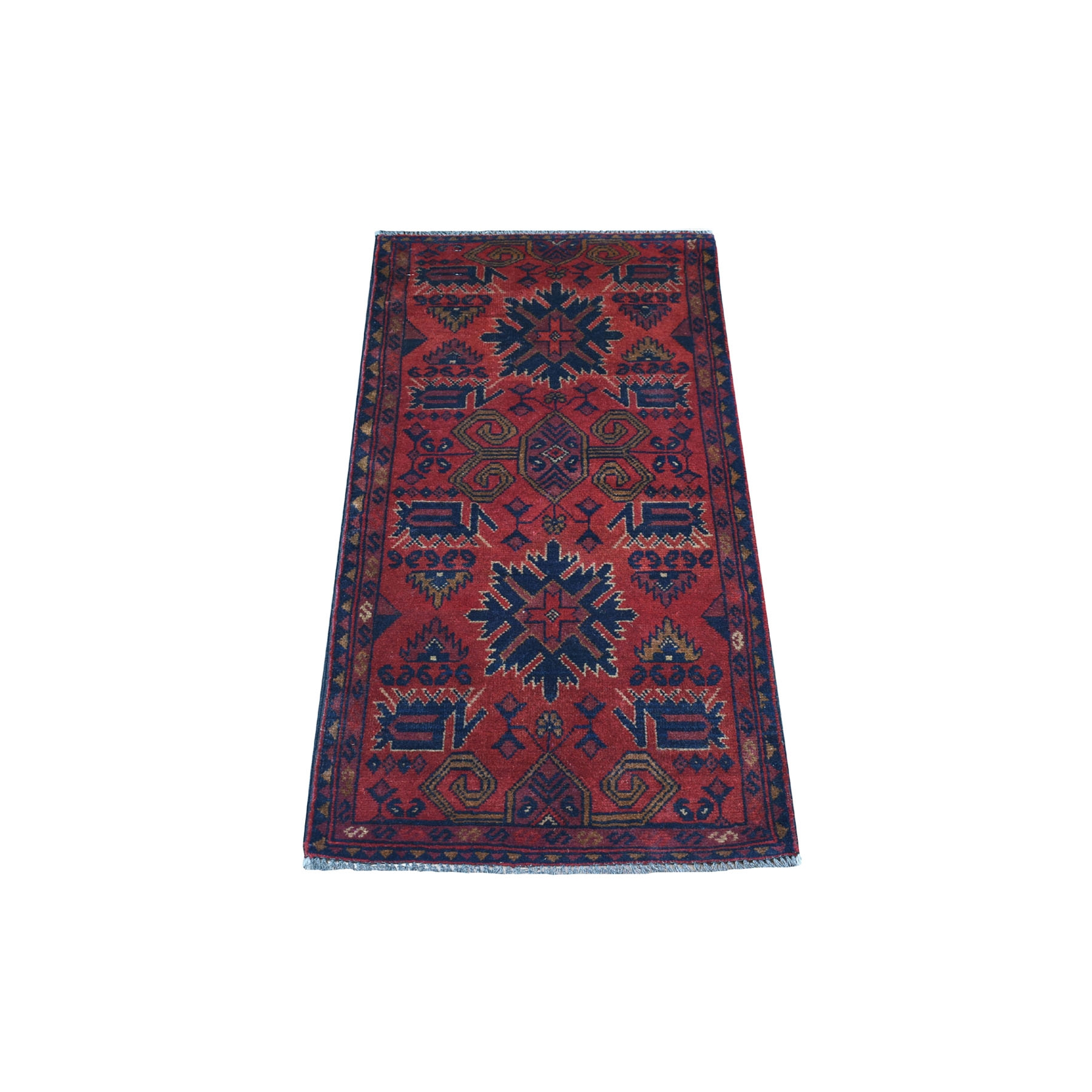 """1'8""""X3'9"""" Deep And Saturated Red Geometric Afghan Andkhoy Pure Wool Hand Knotted Oriental Rug moaec7e8"""