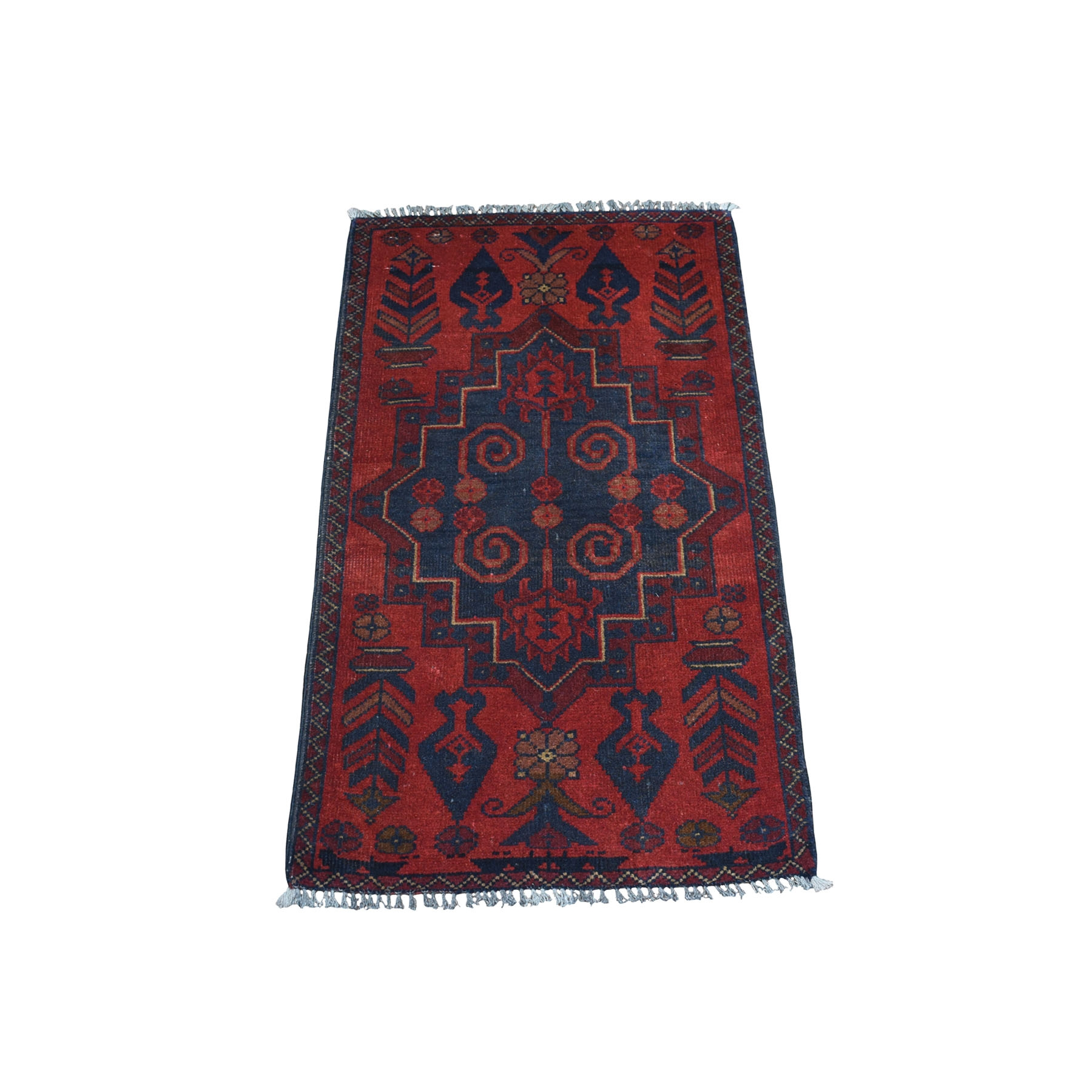 "1'9""X3'3"" Deep And Saturated Red Tribal Afghan Andkhoy Pure Wool Hand Knotted Oriental Rug moaec760"