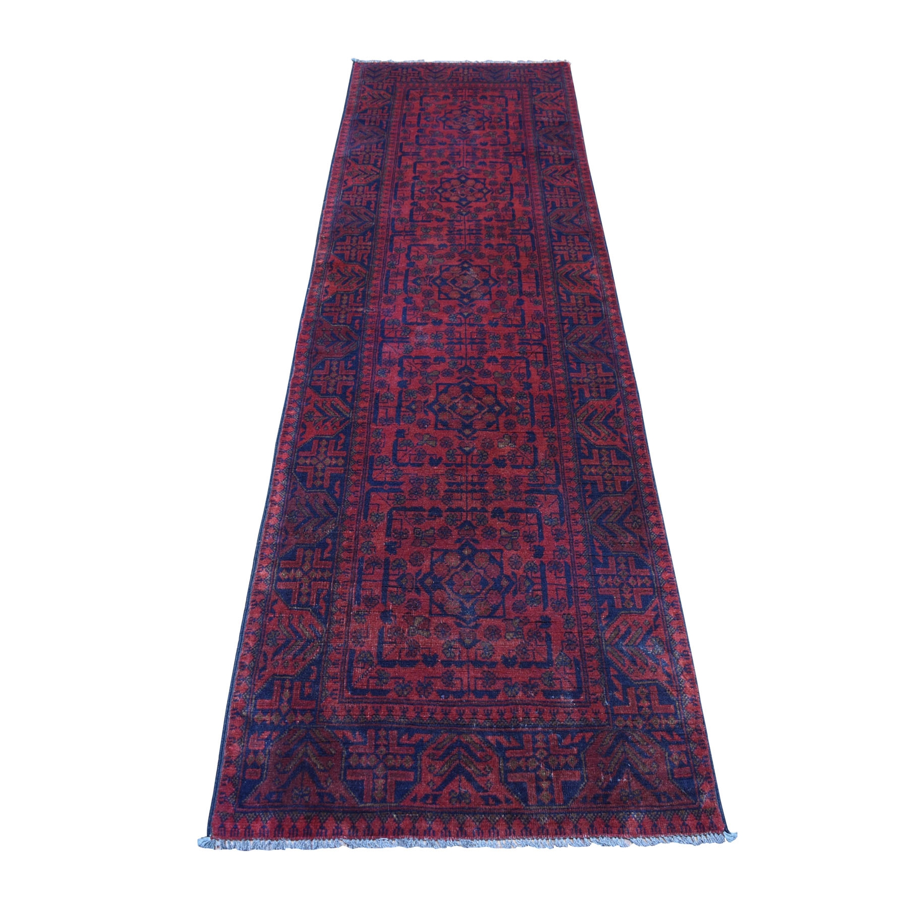 "2'7""X9'6"" Deep And Saturated Red Geometric Afghan Andkhoy Runner Pure Wool Hand Knotted Oriental Rug moaec766"