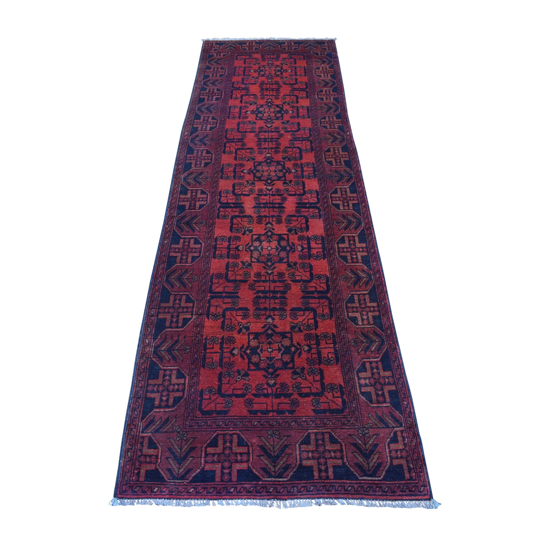 "2'7""X9' Deep And Saturated Red Geometric Afghan Andkhoy Runner Pure Wool Hand Knotted Oriental Rug moaec768"