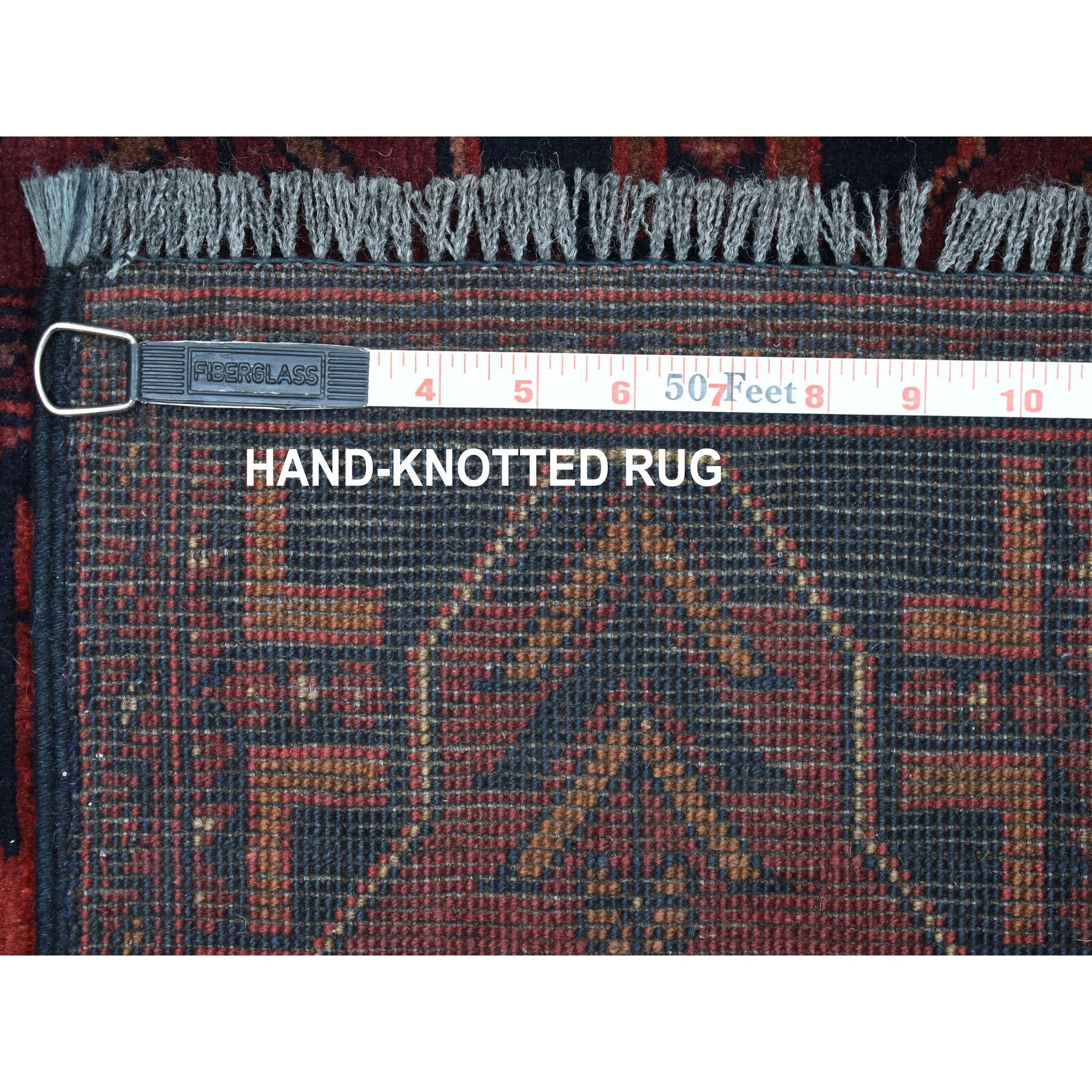 2-7 x9- Deep and Saturated Red Geometric Afghan Andkhoy Runner Pure Wool Hand Knotted Oriental Rug