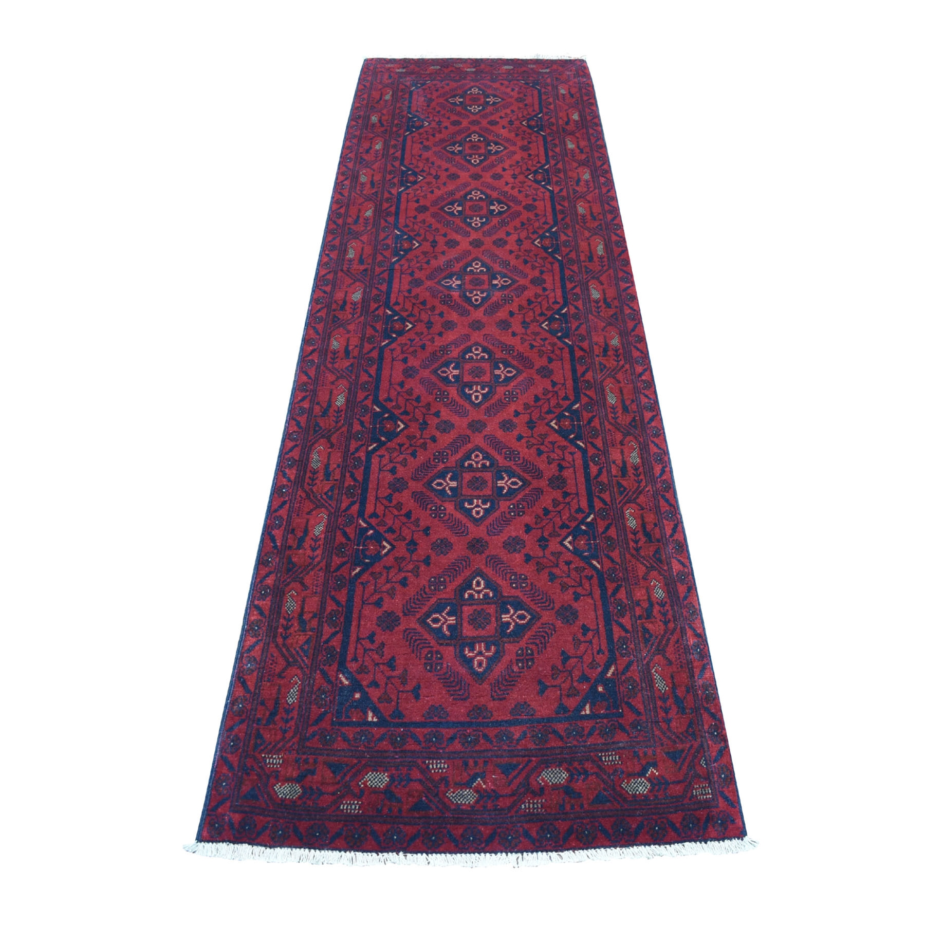 "2'9""X9'8"" Deep And Saturated Red Geometric Afghan Andkhoy Runner Pure Wool Hand Knotted Oriental Rug moaec769"
