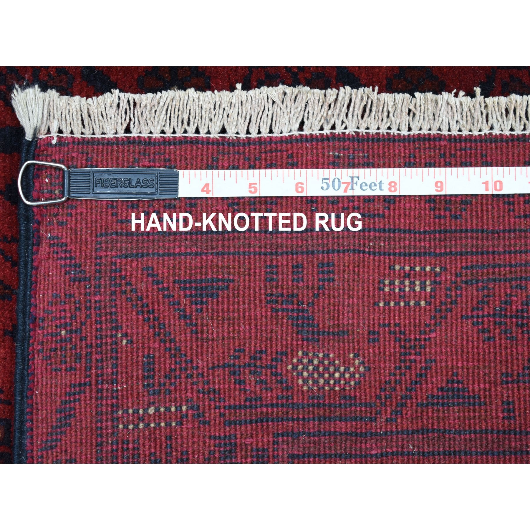 2-9 x9-8  Deep and Saturated Red Geometric Afghan Andkhoy Runner Pure Wool Hand Knotted Oriental Rug