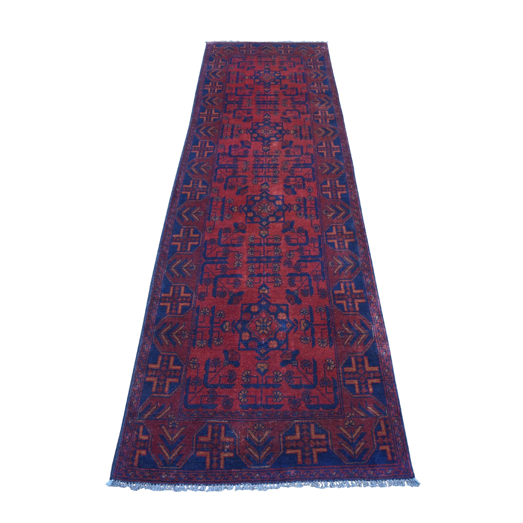 "2'7""X9'5"" Deep And Saturated Red Geometric Afghan Andkhoy Runner Pure Wool Hand Knotted Oriental Rug moaec770"
