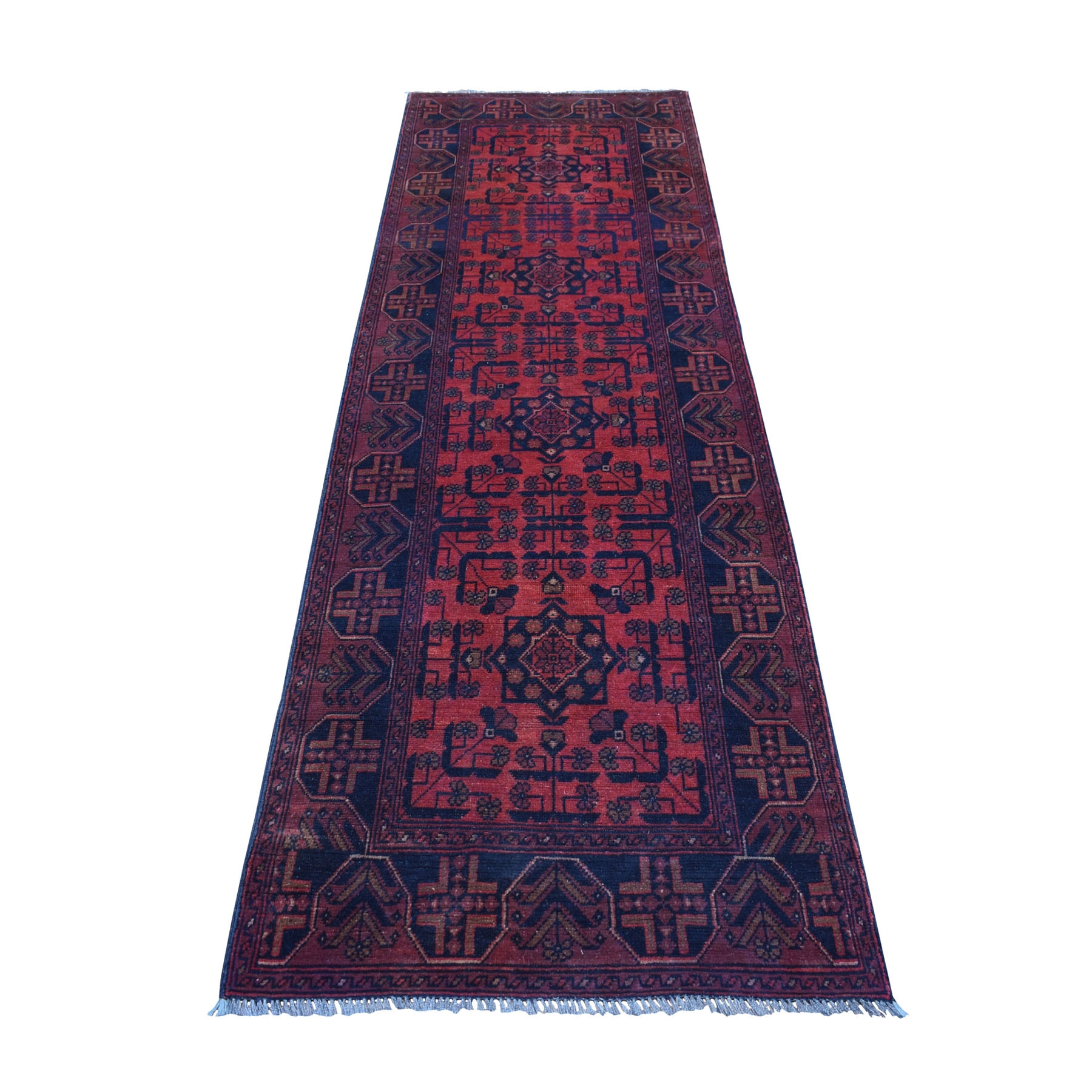 """2'9""""x9' Deep and Saturated Red Geometric Afghan Andkhoy Runner Pure Wool Hand Knotted Oriental Rug 53771"""