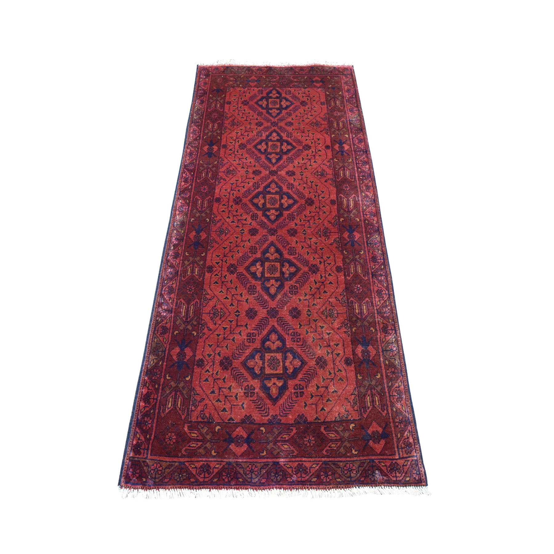 "2'6""x6'4"" Deep and Saturated Red Geometric Afghan Andkhoy Runner Pure Wool Hand Knotted Oriental Rug 53772"