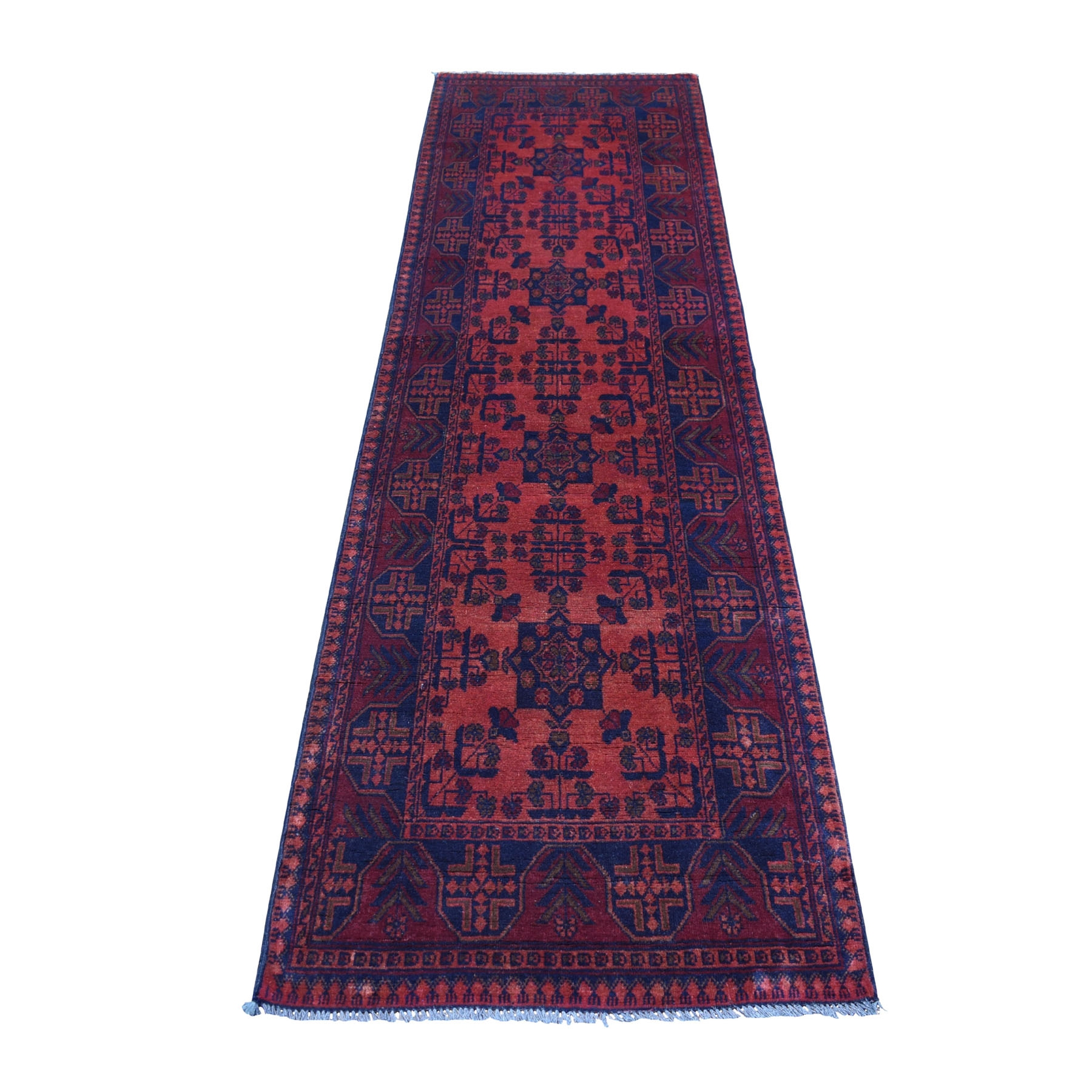 "2'8""x9'7"" Deep and Saturated Red Geometric Afghan Andkhoy Runner Pure Wool Hand Knotted Oriental Rug"