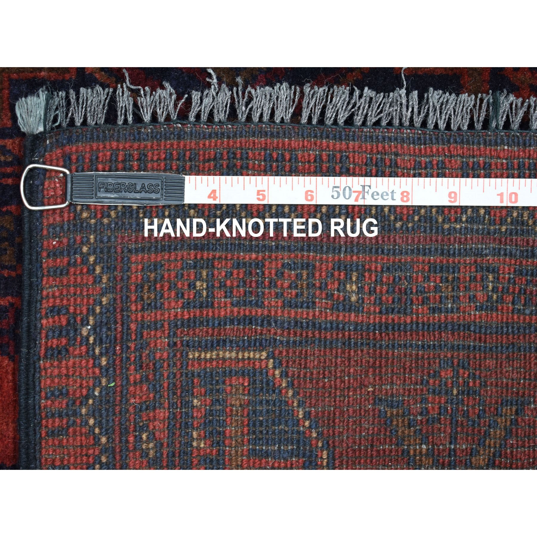 """2'8""""x9'7"""" Deep and Saturated Red Geometric Afghan Andkhoy Runner Pure Wool Hand Knotted Oriental Rug"""