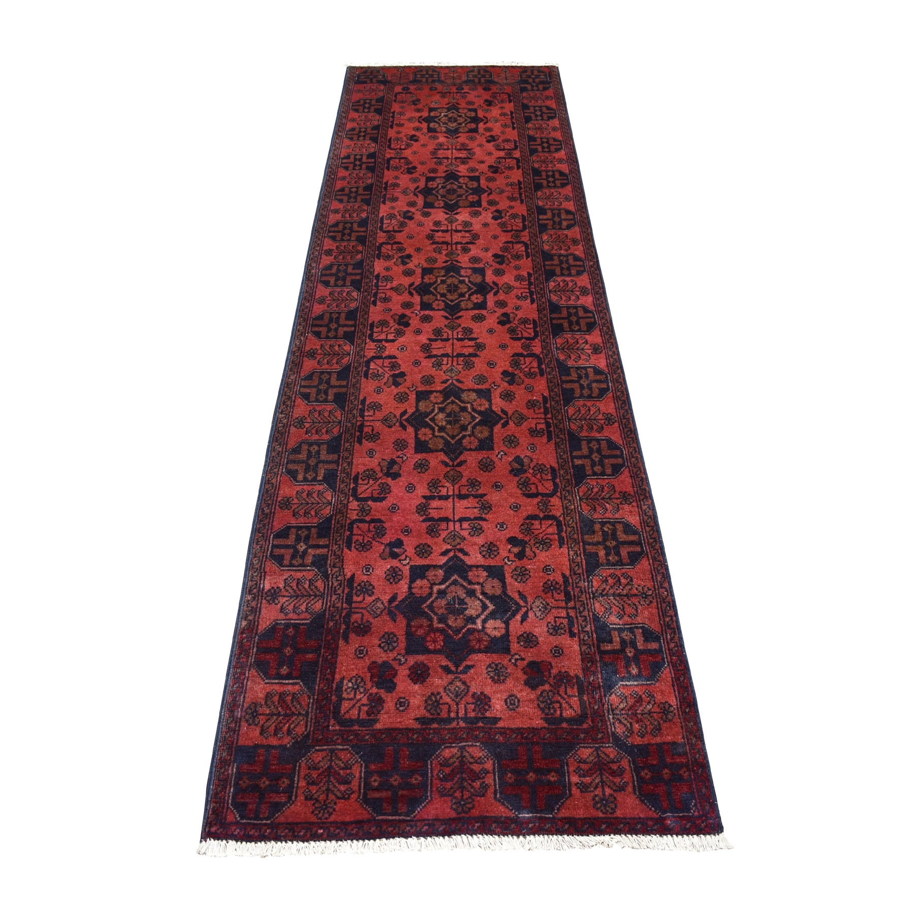 "2'8""X9'5"" Deep And Saturated Red Geometric Afghan Andkhoy Runner Pure Wool Hand Knotted Oriental Rug moaec77e"