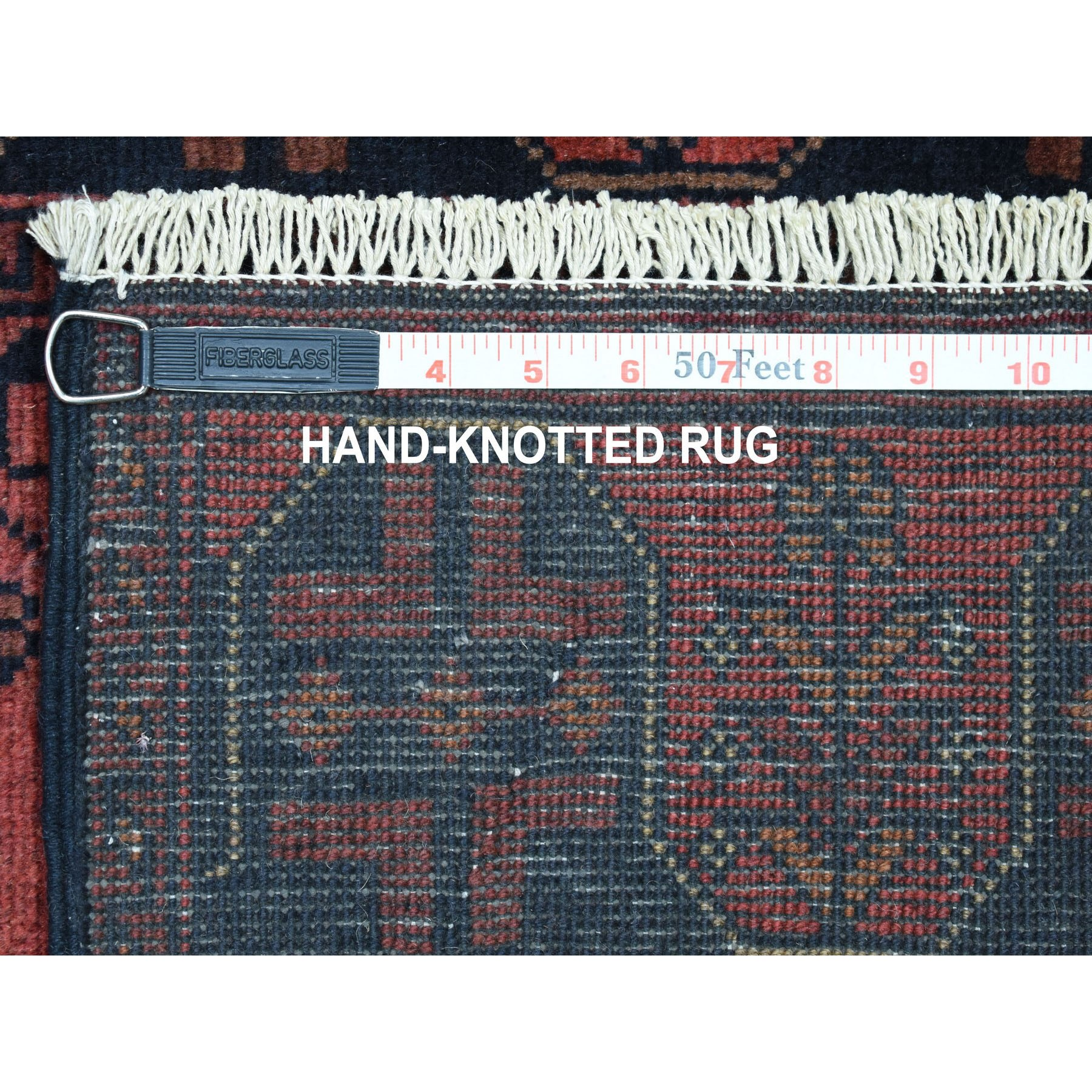 """2'8""""x9'5"""" Deep and Saturated Red Geometric Afghan Andkhoy Runner Pure Wool Hand Knotted Oriental Rug"""