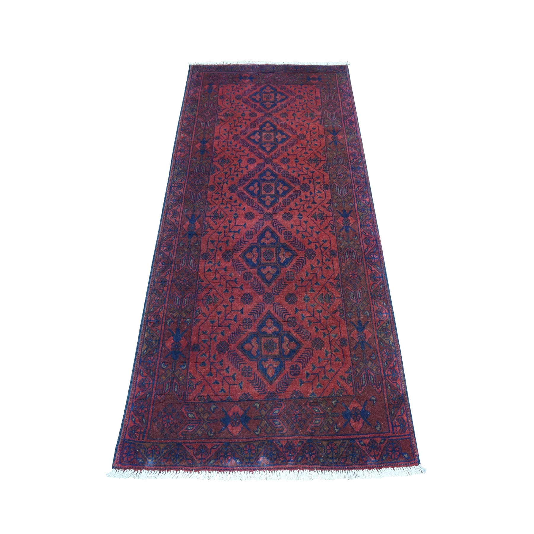 "2'7""x6'3"" Deep and Saturated Red Geometric Afghan Andkhoy Runner Pure Wool Hand Knotted Oriental Rug"