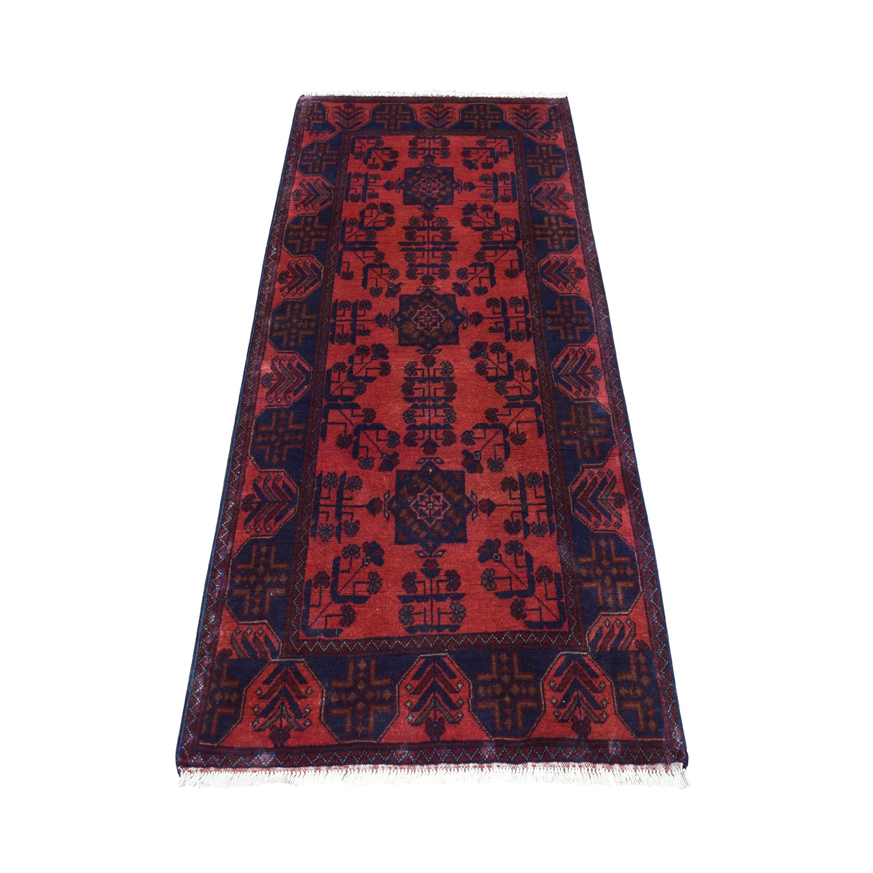 "2'8""X6'1"" Deep And Saturated Red Geometric Afghan Andkhoy Runner Pure Wool Hand Knotted Oriental Rug moaec779"