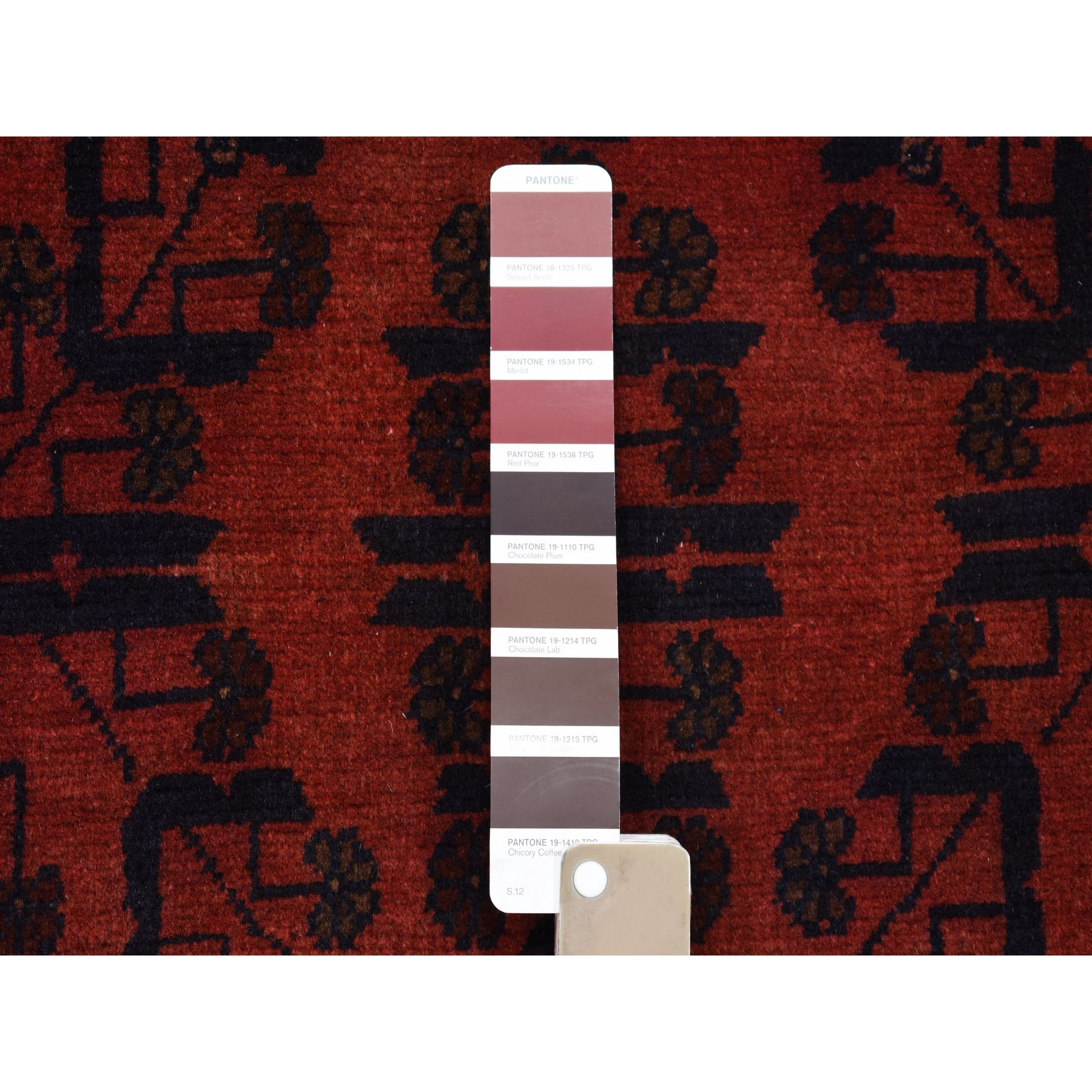 "2'8""x6'1"" Deep and Saturated Red Geometric Afghan Andkhoy Runner Pure Wool Hand Knotted Oriental Rug"