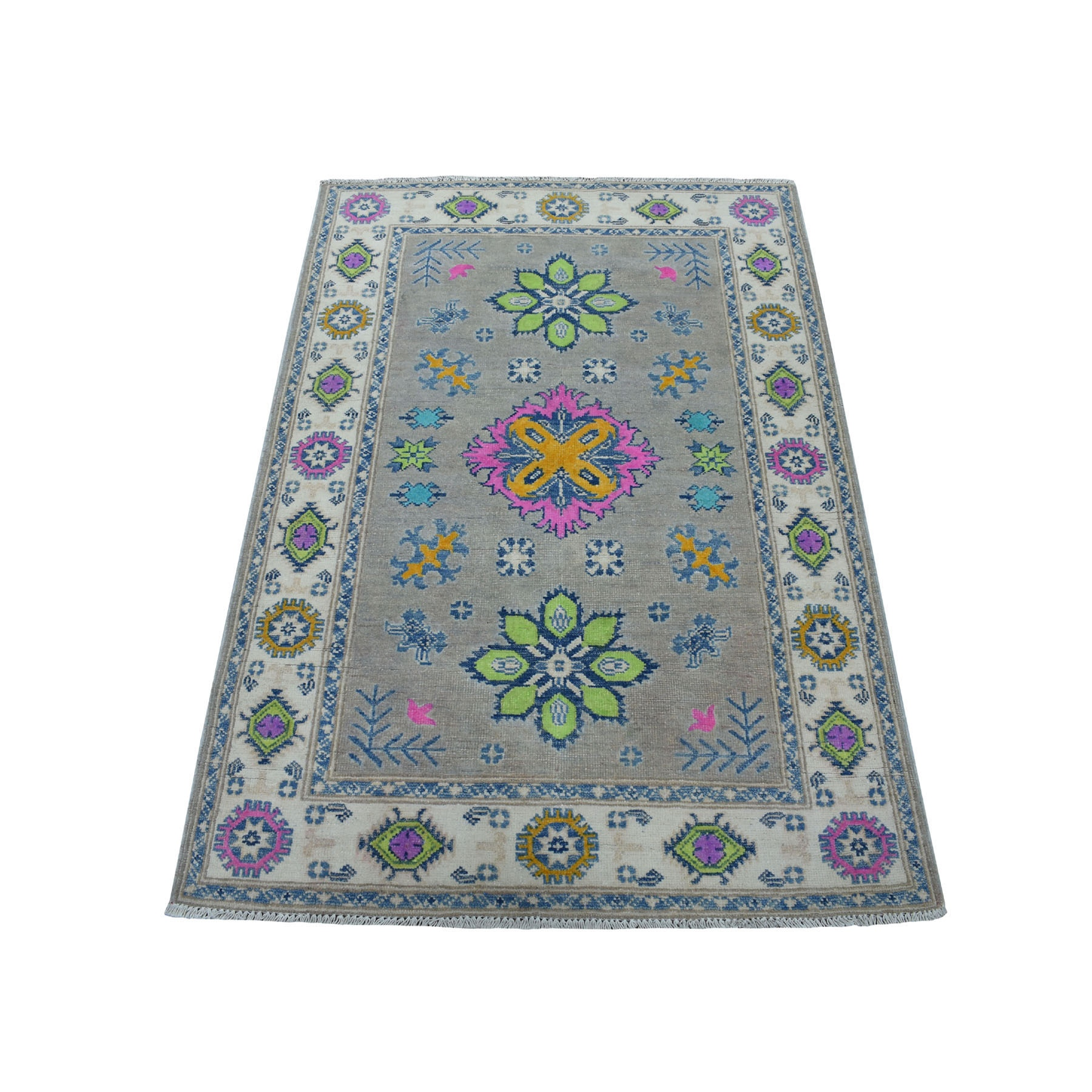 "3'5""X4'10"" Colorful Gray Fusion Kazak Pure Wool Geometric Design Hand Knotted Oriental Rug moaec780"