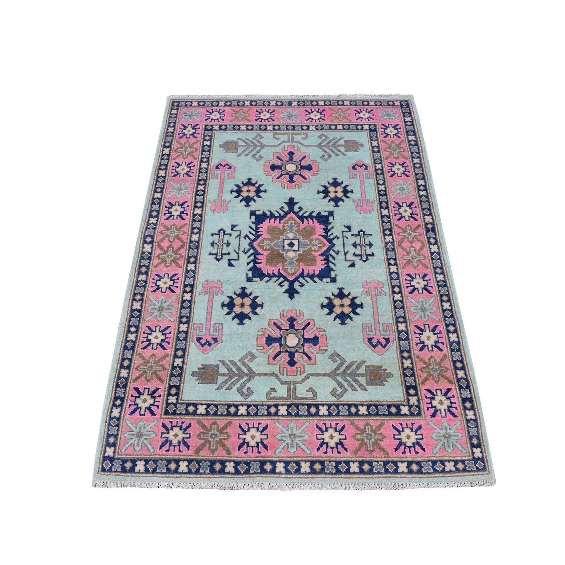 "3'3""X5' Colorful Fusion Kazak Pure Wool Hand Knotted Oriental Rug moaec78a"
