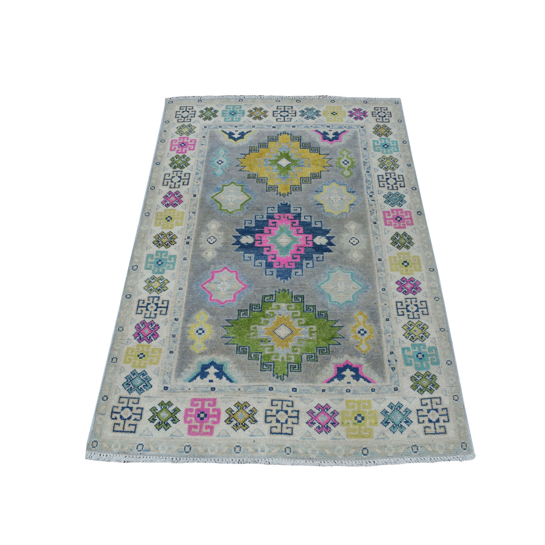 "3'2""X4'9"" Colorful Gray Fusion Kazak Pure Wool Geometric Design Hand Knotted Oriental Rug moaec78b"