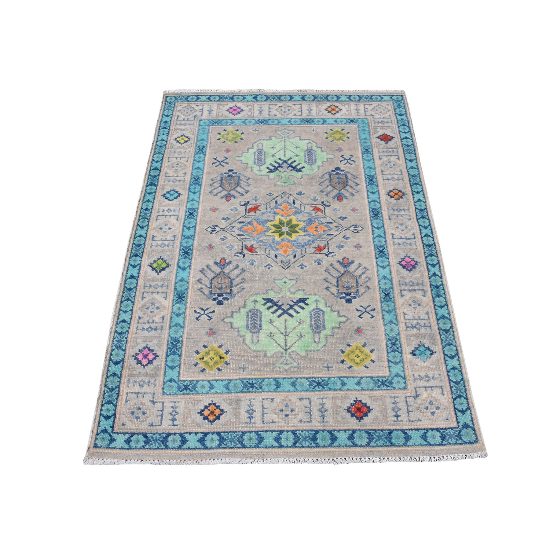 "3'X4'10"" Colorful Gray Fusion Kazak Pure Wool Geometric Design Hand Knotted Oriental Rug moaec78c"