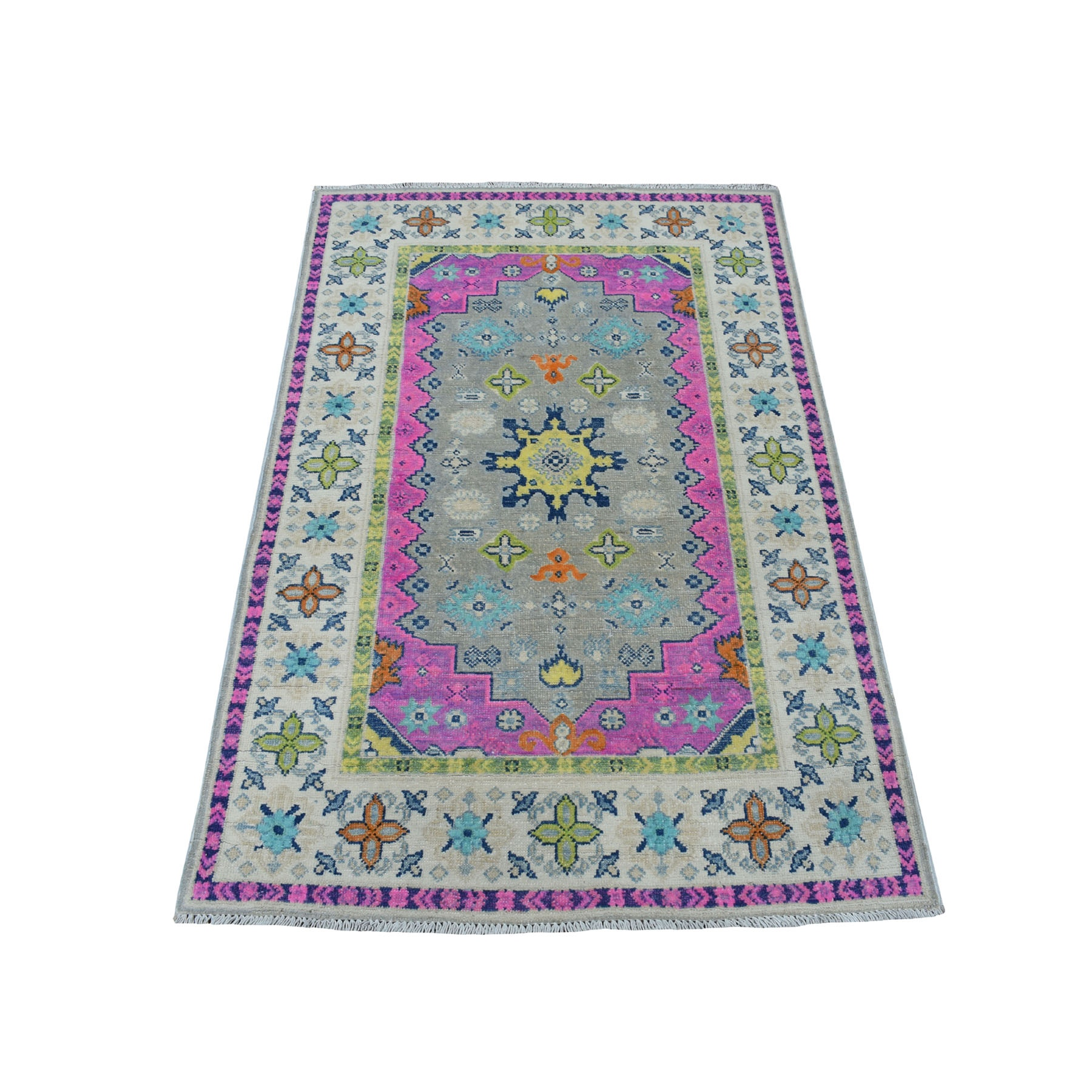 """3'2""""X4'9"""" Colorful Gray Fusion Kazak Pure Wool Geometric Design Hand Knotted Oriental Rug moaec78d"""
