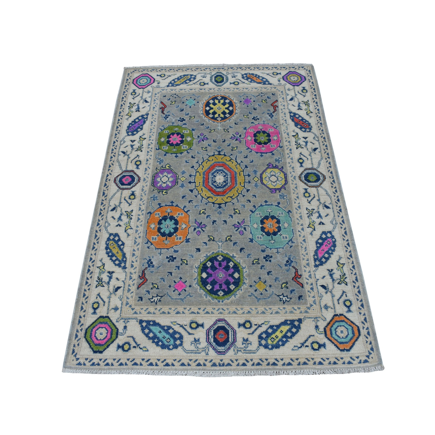 "3'2""X5' Colorful Gray Fusion Kazak Pure Wool Geometric Design Hand Knotted Oriental Rug moaec78e"
