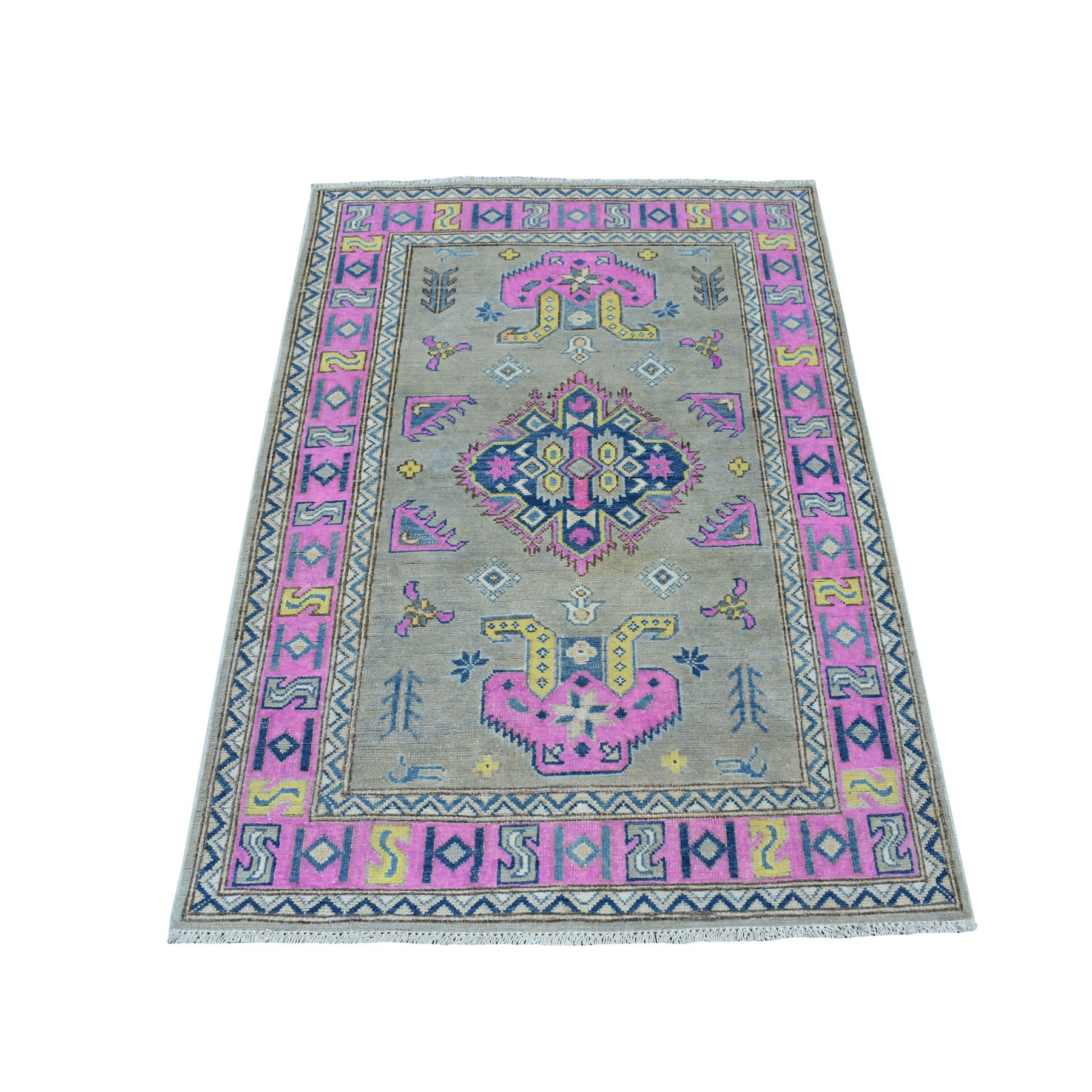 "3'4""X4'10"" Colorful Gray Fusion Kazak Pure Wool Geometric Design Hand Knotted Oriental Rug moaec788"