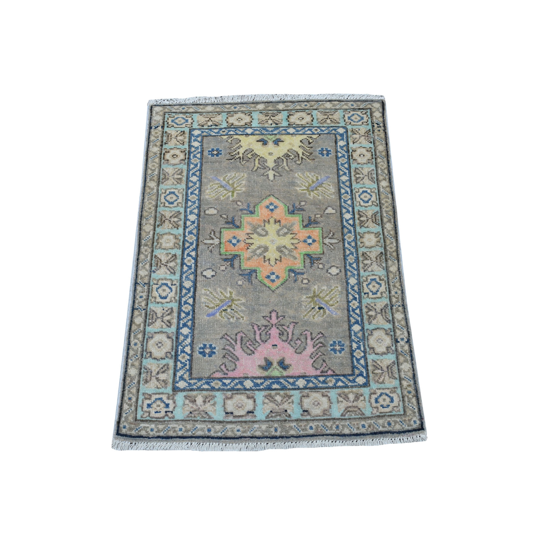 """2'X2'8"""" Colorful Gray Fusion Kazak Pure Wool Geometric Design Hand Knotted Oriental Rug moaec790"""