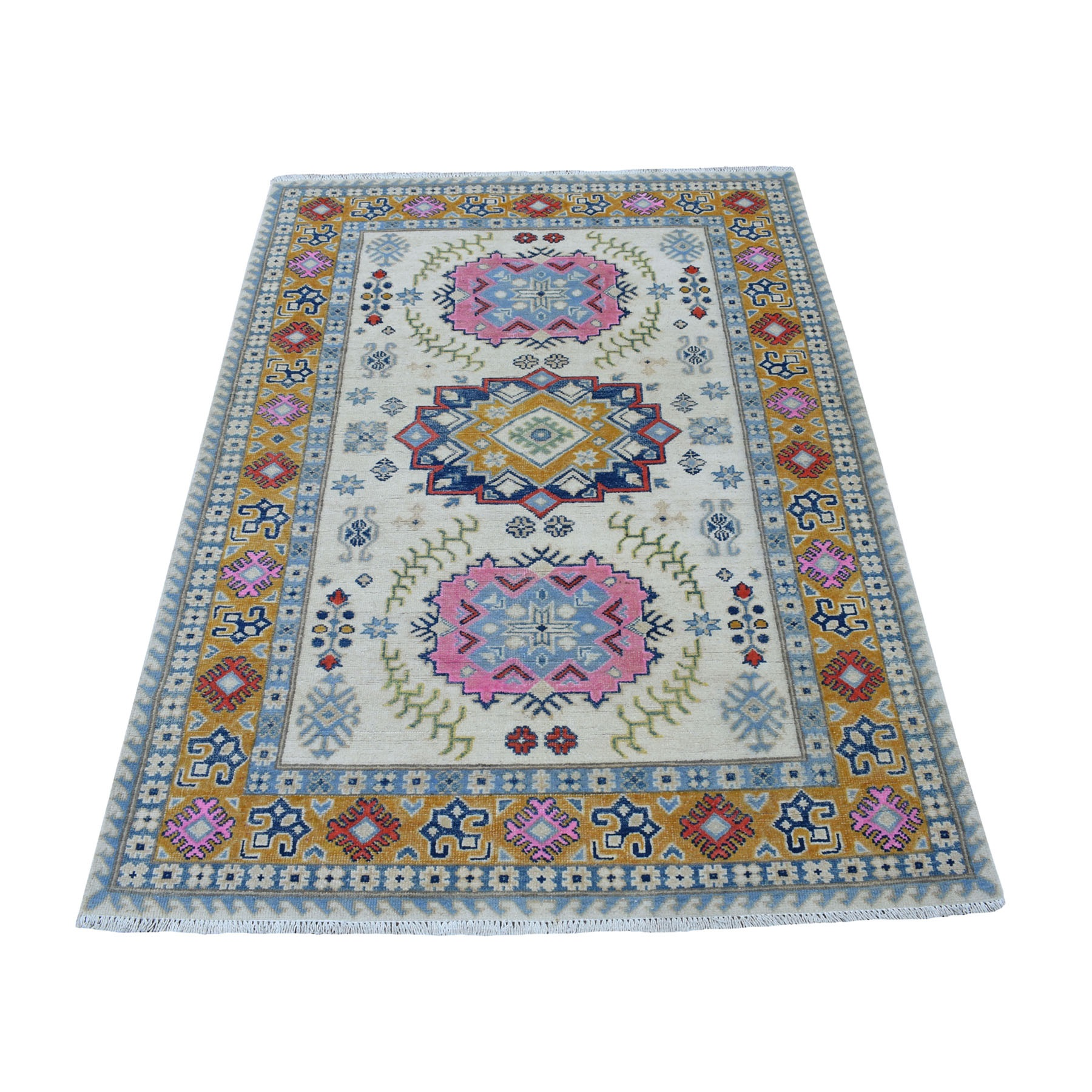 4'X6' Colorful Ivory Fusion Kazak Pure Wool Hand Knotted Oriental Rug moaec79c