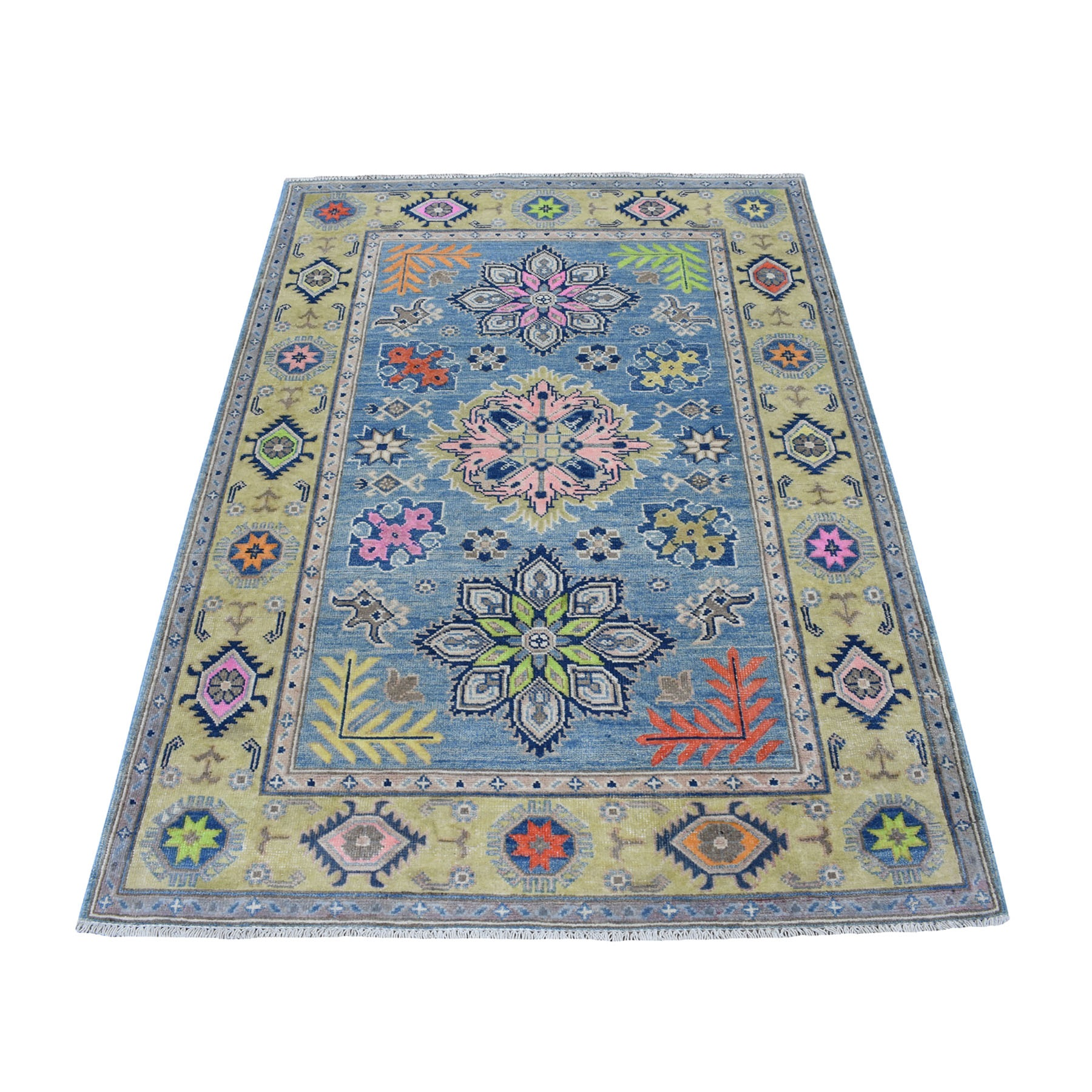 "3'10""X5'10"" Colorful Blue Fusion Kazak Pure Wool Hand Knotted Oriental Rug moaec79d"