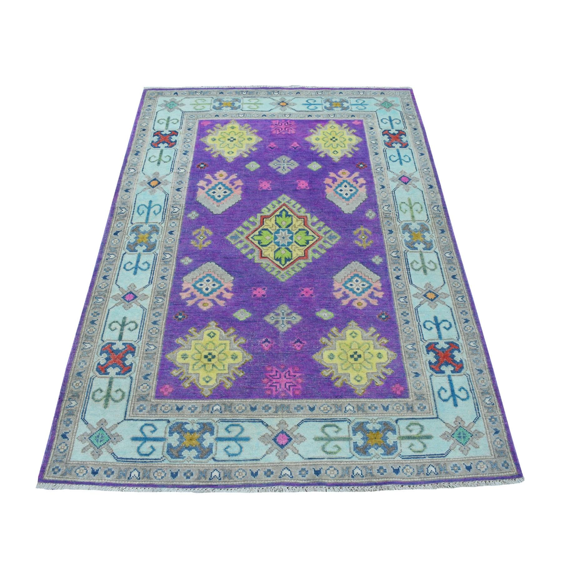 "3'10""X6' Colorful Purple Fusion Kazak Pure Wool Hand Knotted Oriental Rug moaec79e"