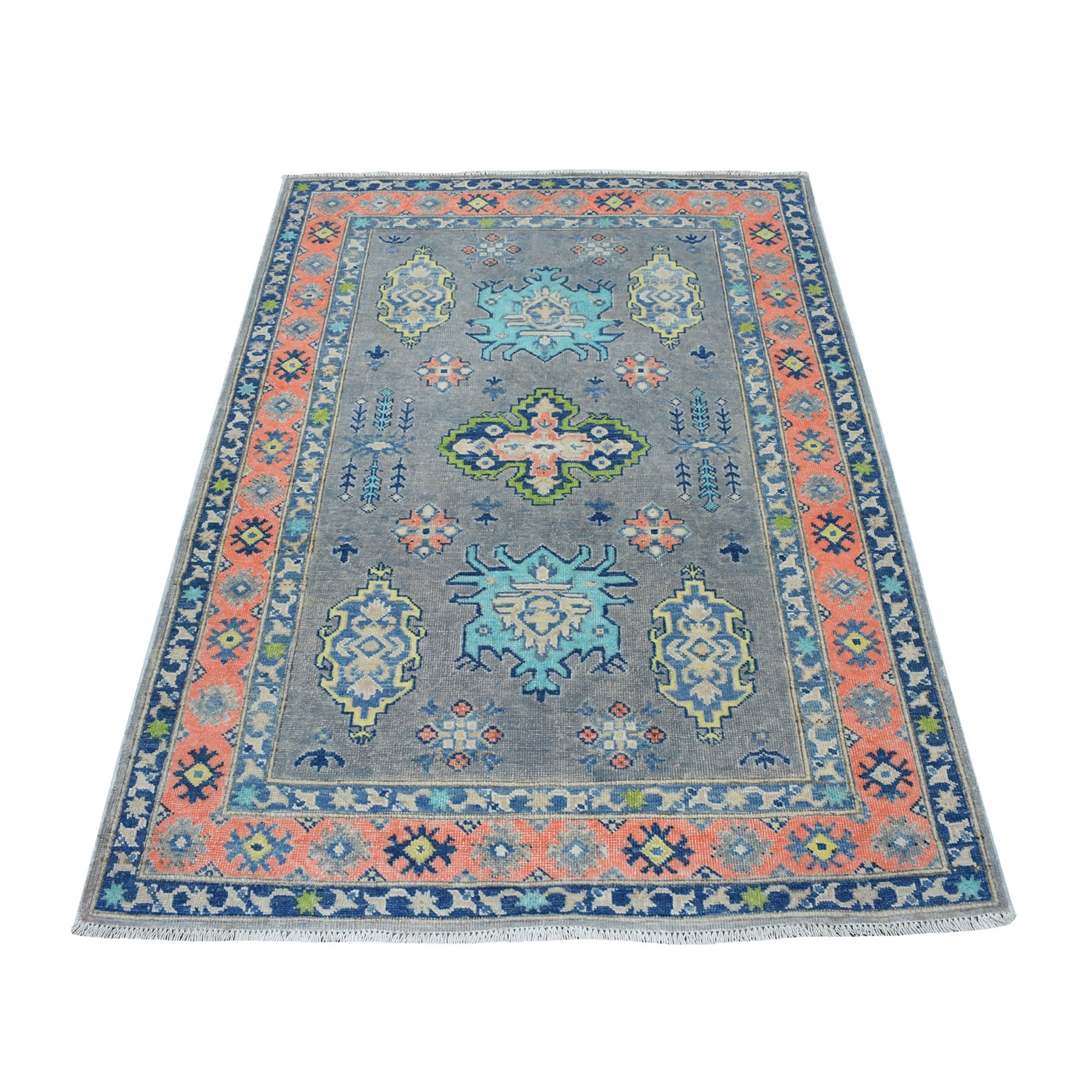 """4'X5'8"""" Colorful Gray Fusion Kazak Pure Wool Geometric Design Hand Knotted Oriental Rug moaec796"""