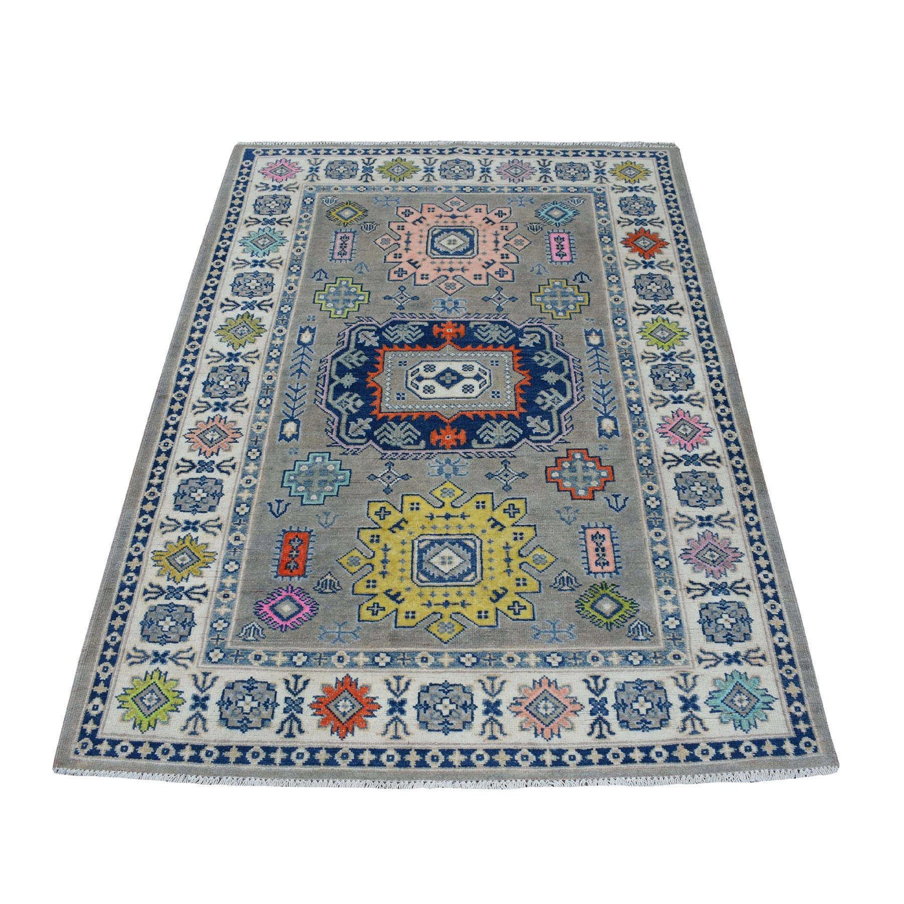 """4'X5'8"""" Colorful Gray Fusion Kazak Pure Wool Geometric Design Hand Knotted Oriental Rug moaec798"""
