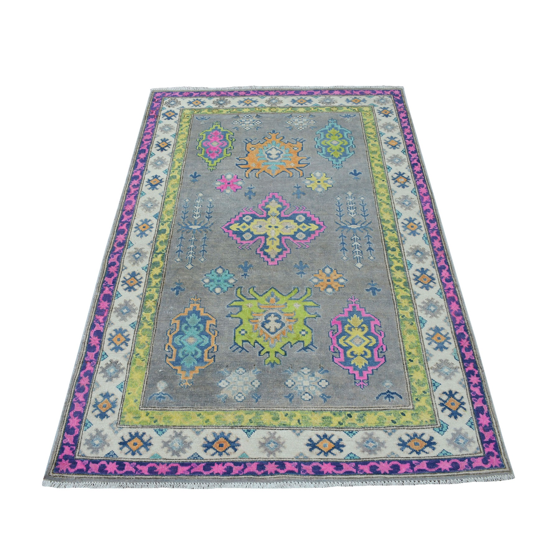 """3'8""""X6' Colorful Gray Fusion Kazak Pure Wool Geometric Design Hand Knotted Oriental Rug moaec799"""