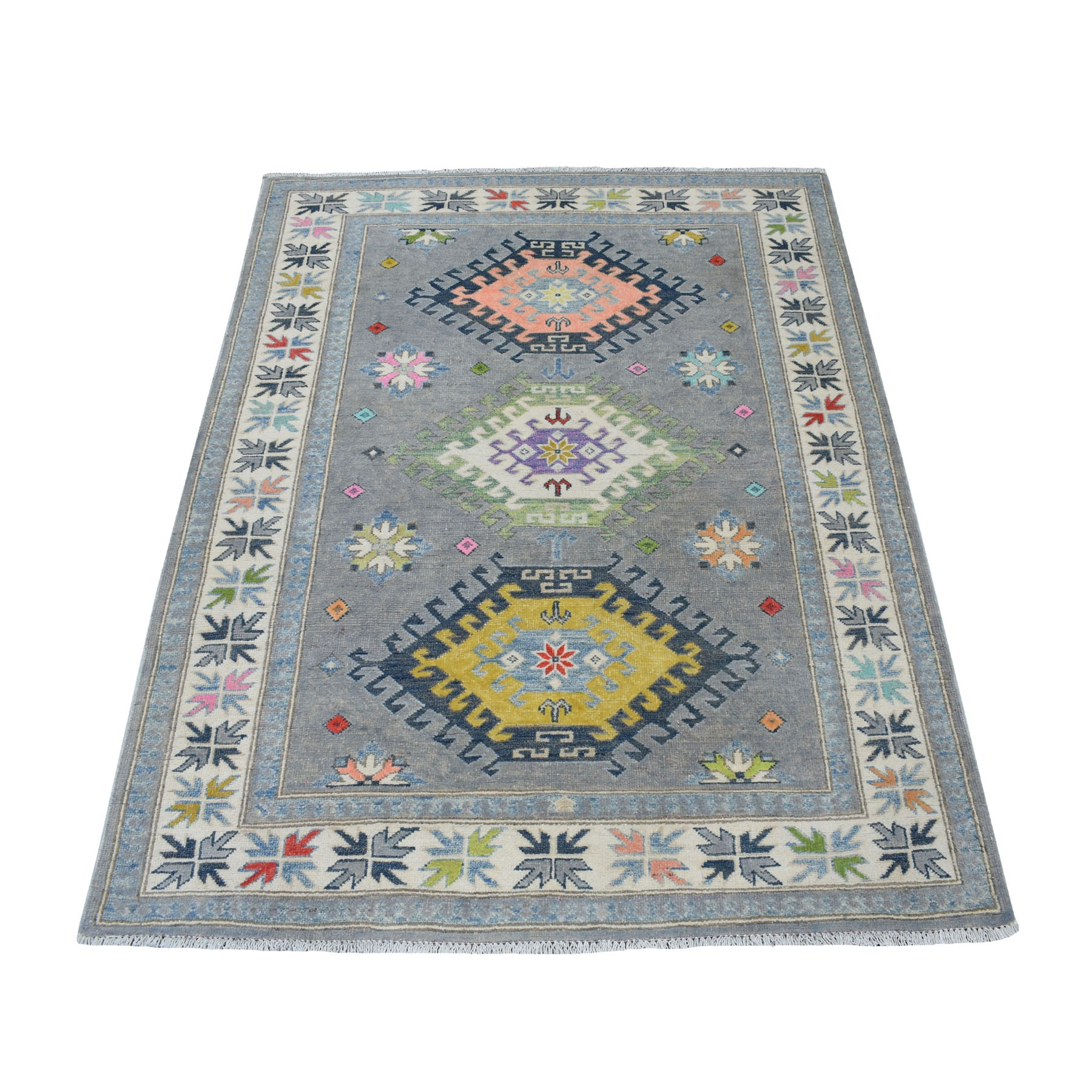 """4'1""""X5'6"""" Colorful Gray Fusion Kazak Pure Wool Geometric Design Hand Knotted Oriental Rug moaec800"""