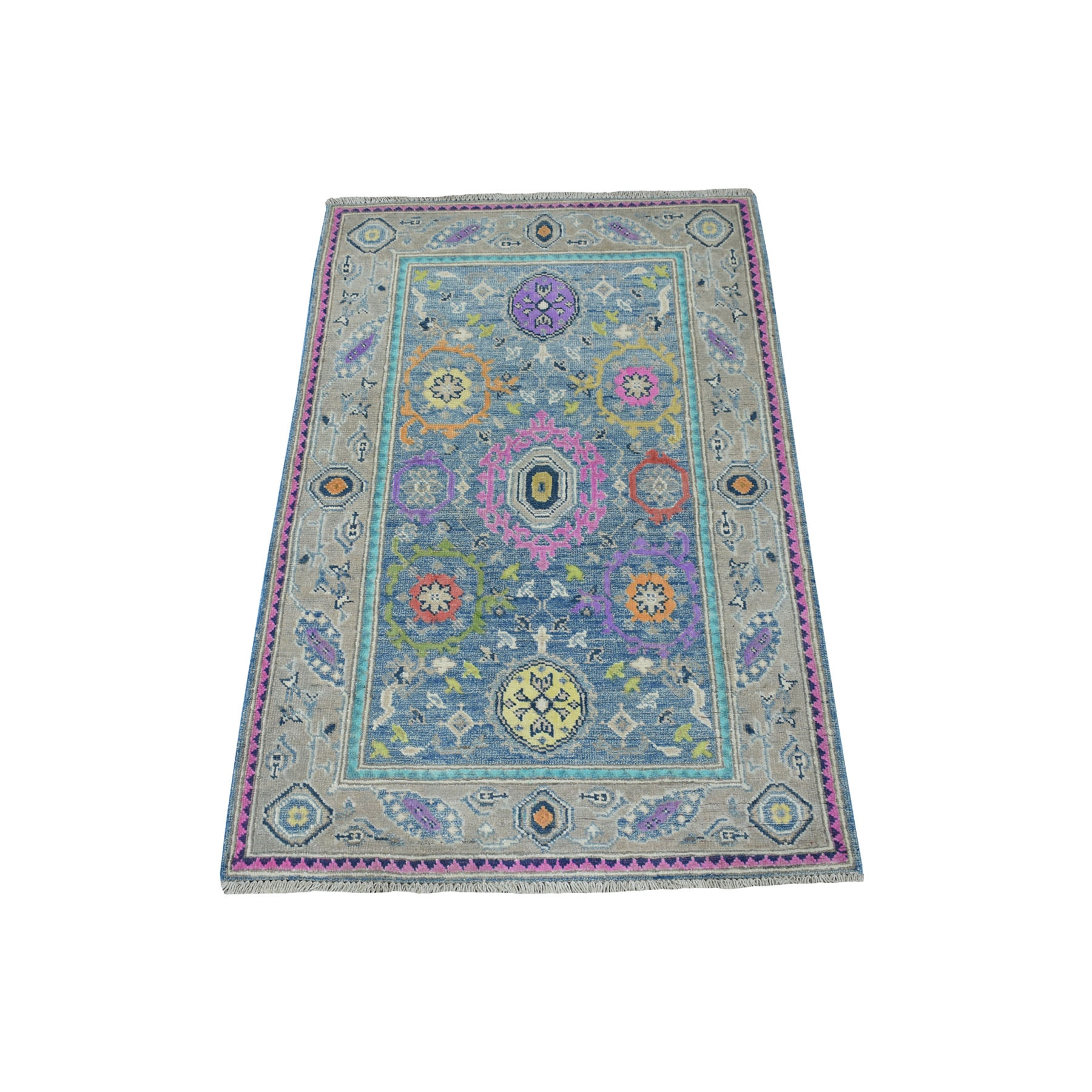 "2'9""x4' Colorful Blue Fusion Kazak Pure Wool Geometric Design Hand Knotted Oriental Rug 53804"
