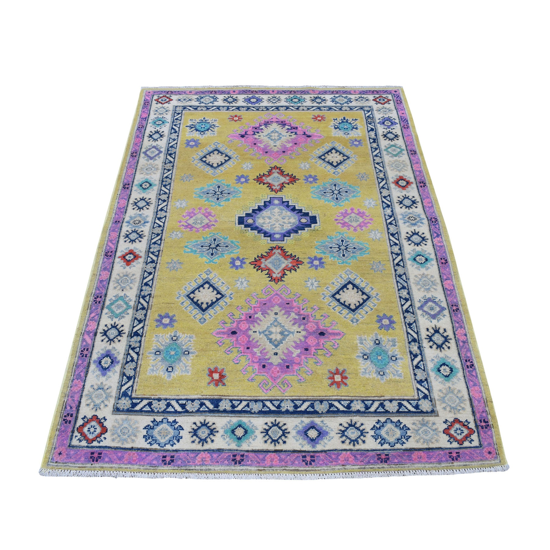 4'x6' Colorful Yellow Fusion Kazak Pure Wool Geometric Design Hand Knotted Oriental Rug